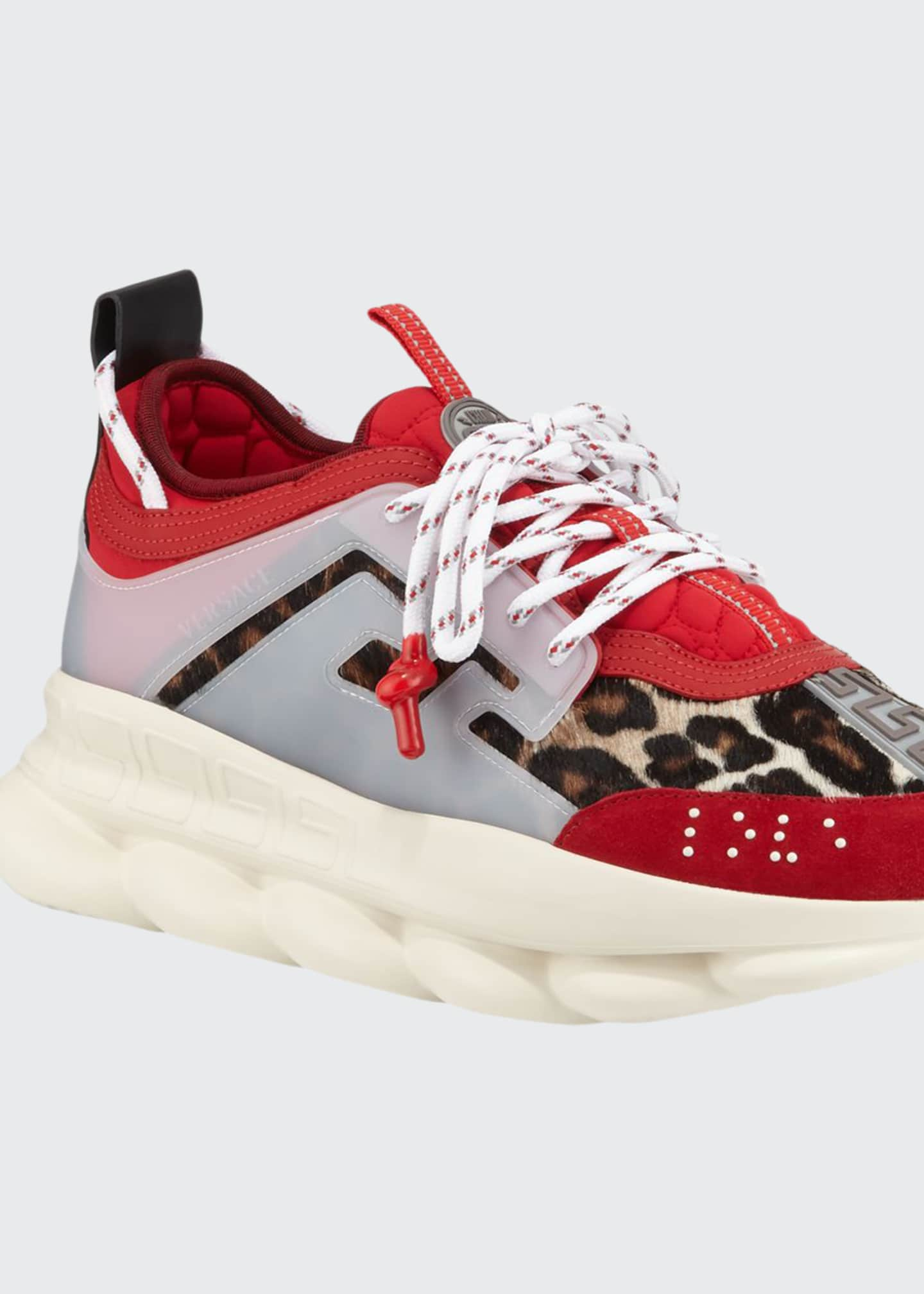 Versace Men's Animal Chain Reaction Leopard-Print Sneakers