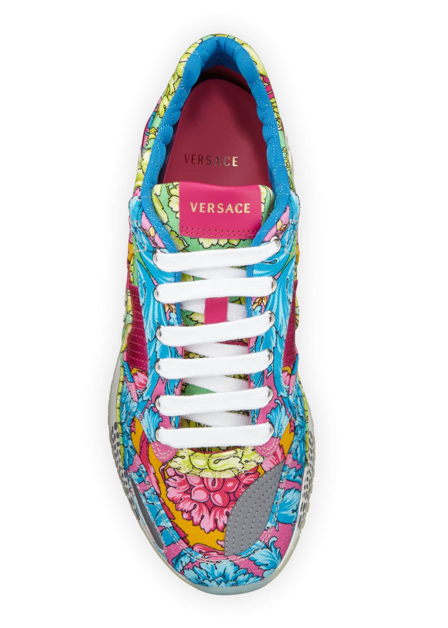 Image 2 of 3: Men's Barocco-Print Canvas Runner Sneakers