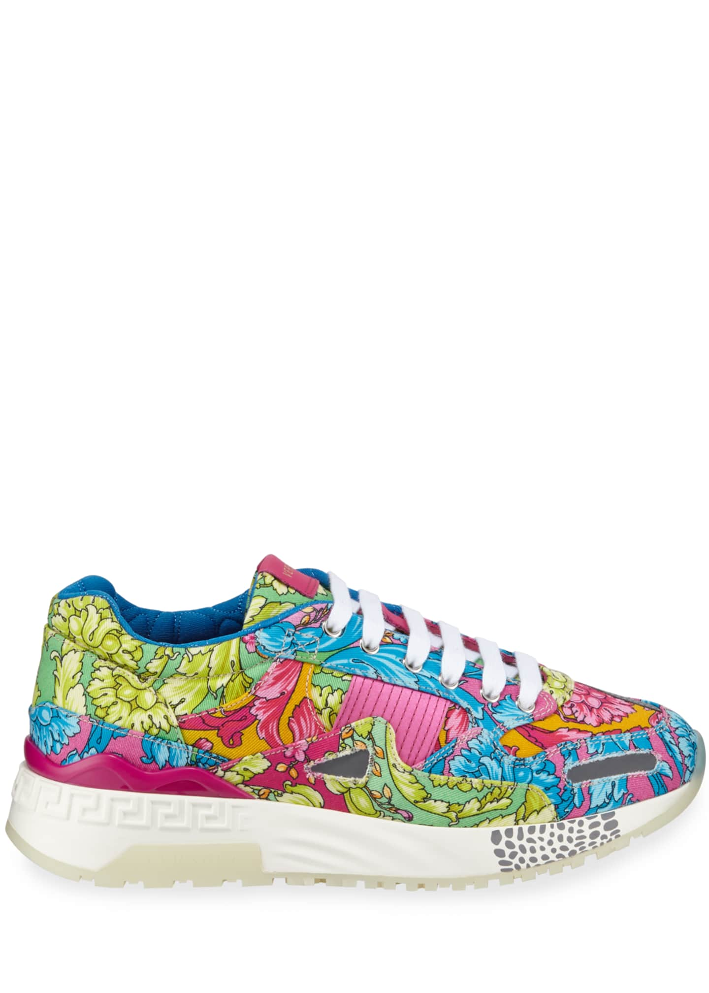 Image 3 of 3: Men's Barocco-Print Canvas Runner Sneakers