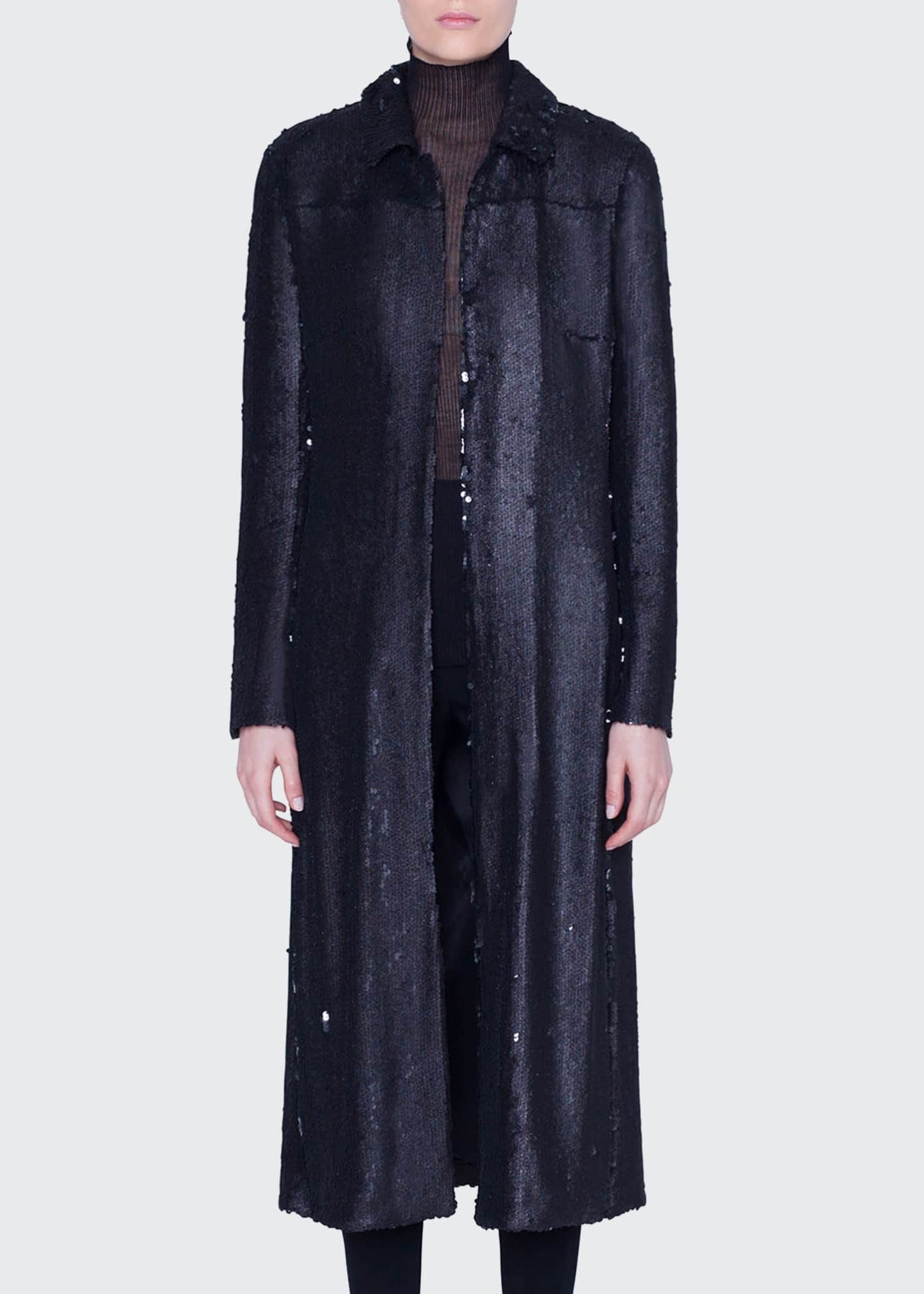 Image 3 of 3: Sequined Ankle-Length Duster Coat