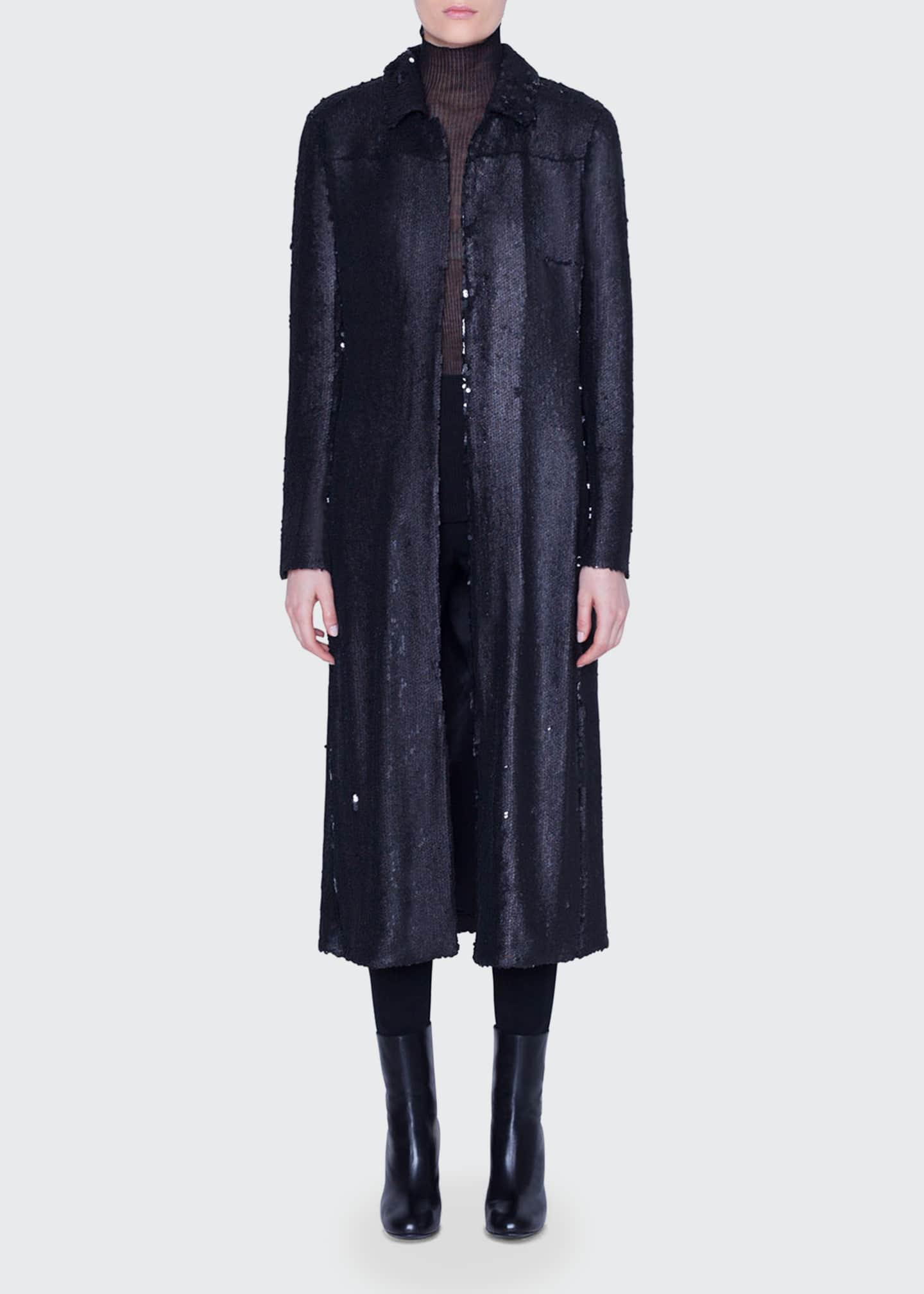 Image 1 of 3: Sequined Ankle-Length Duster Coat
