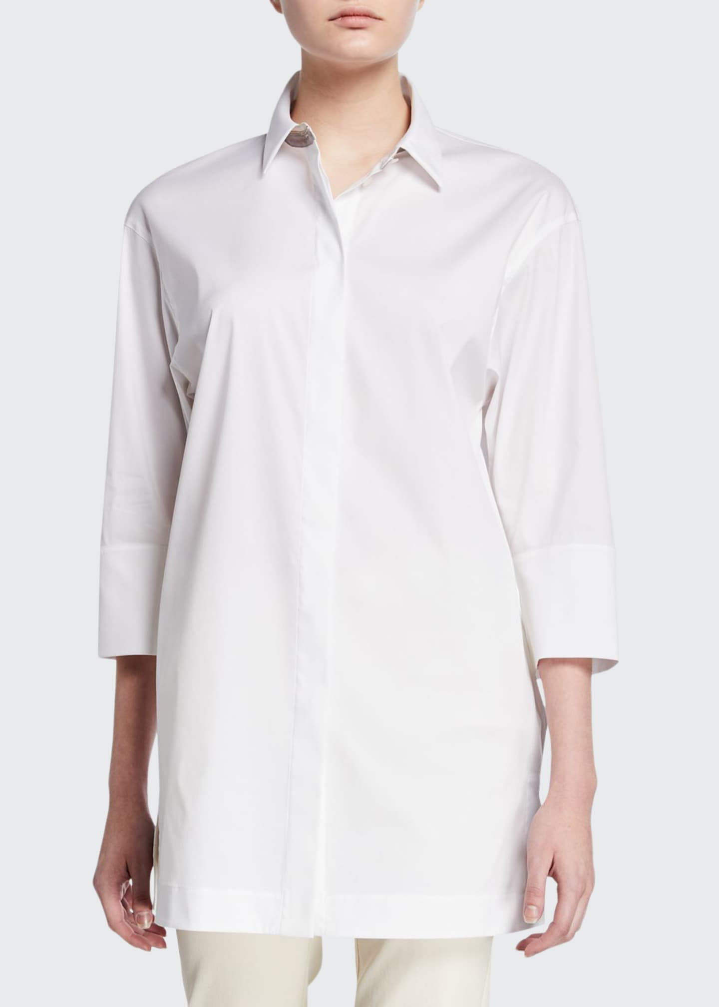Lafayette 148 New York Button-Down 3/4-Sleeve Shirt with