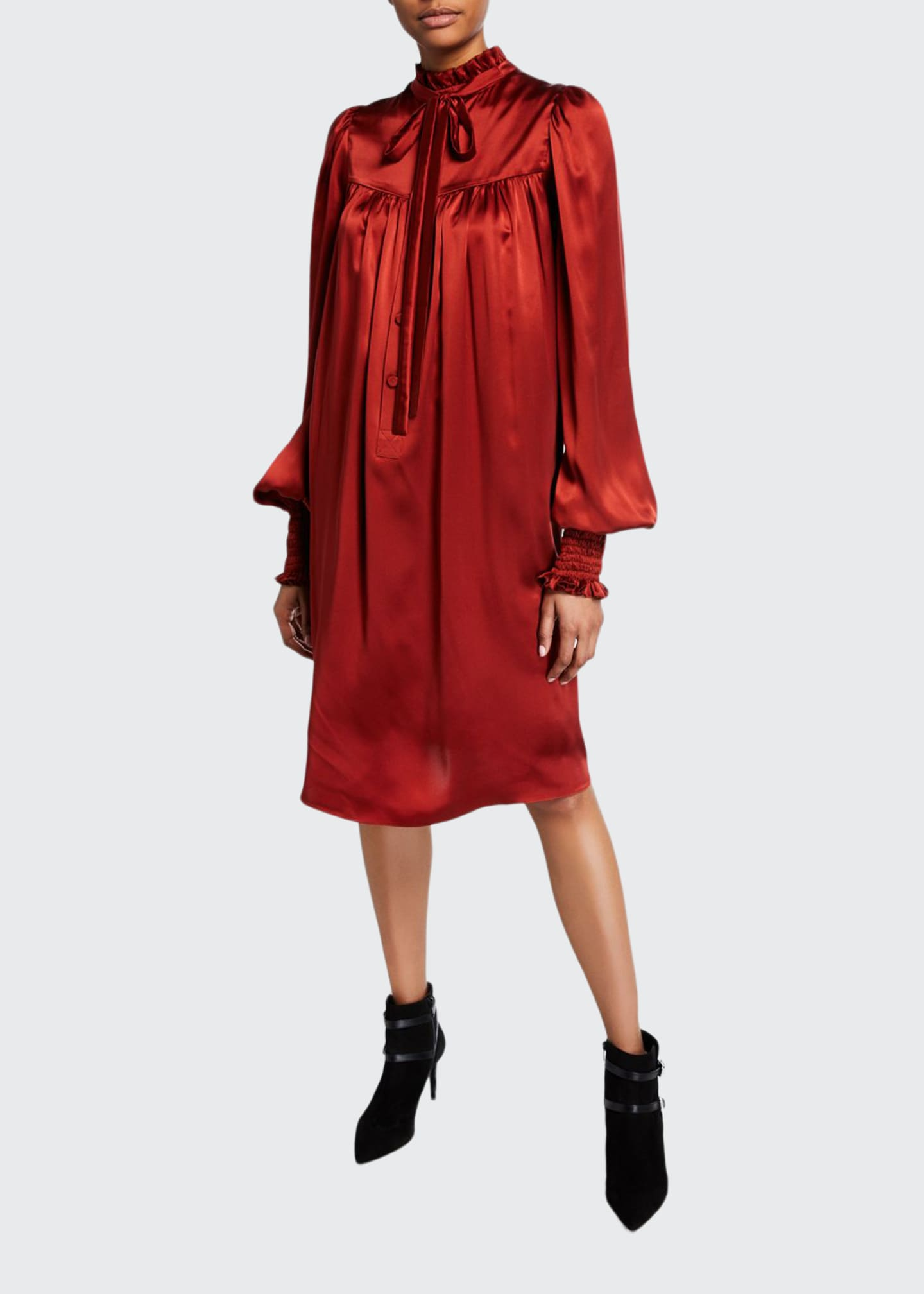 Adam Lippes Ruffled Charmeuse Blouson-Sleeve Dress