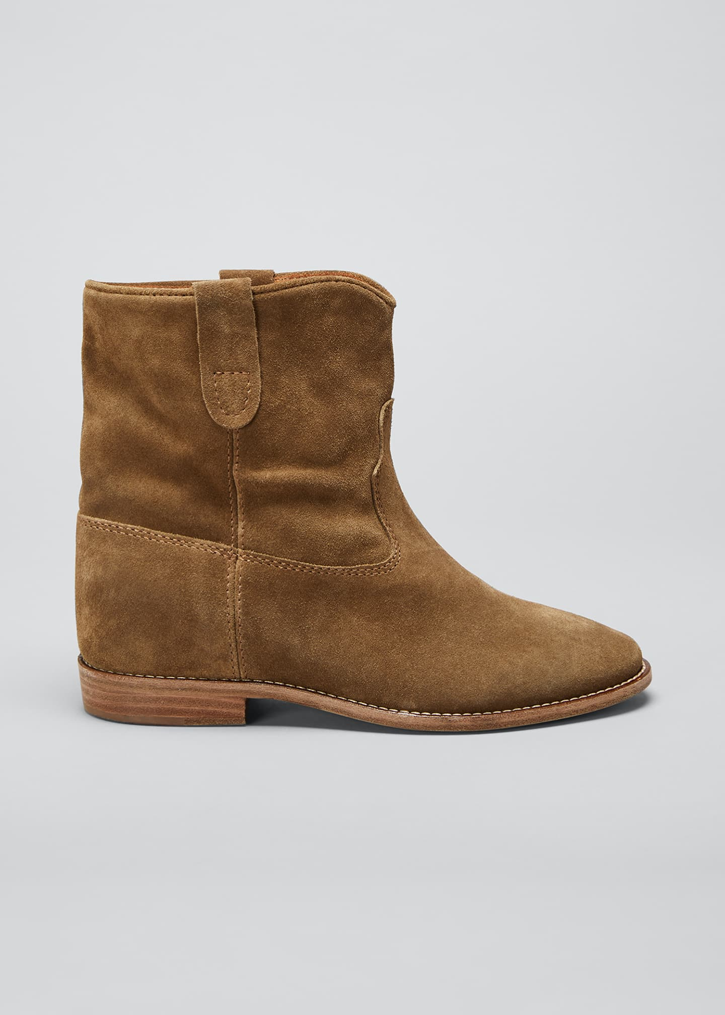 Image 1 of 5: Crisi Western Suede Flat Booties