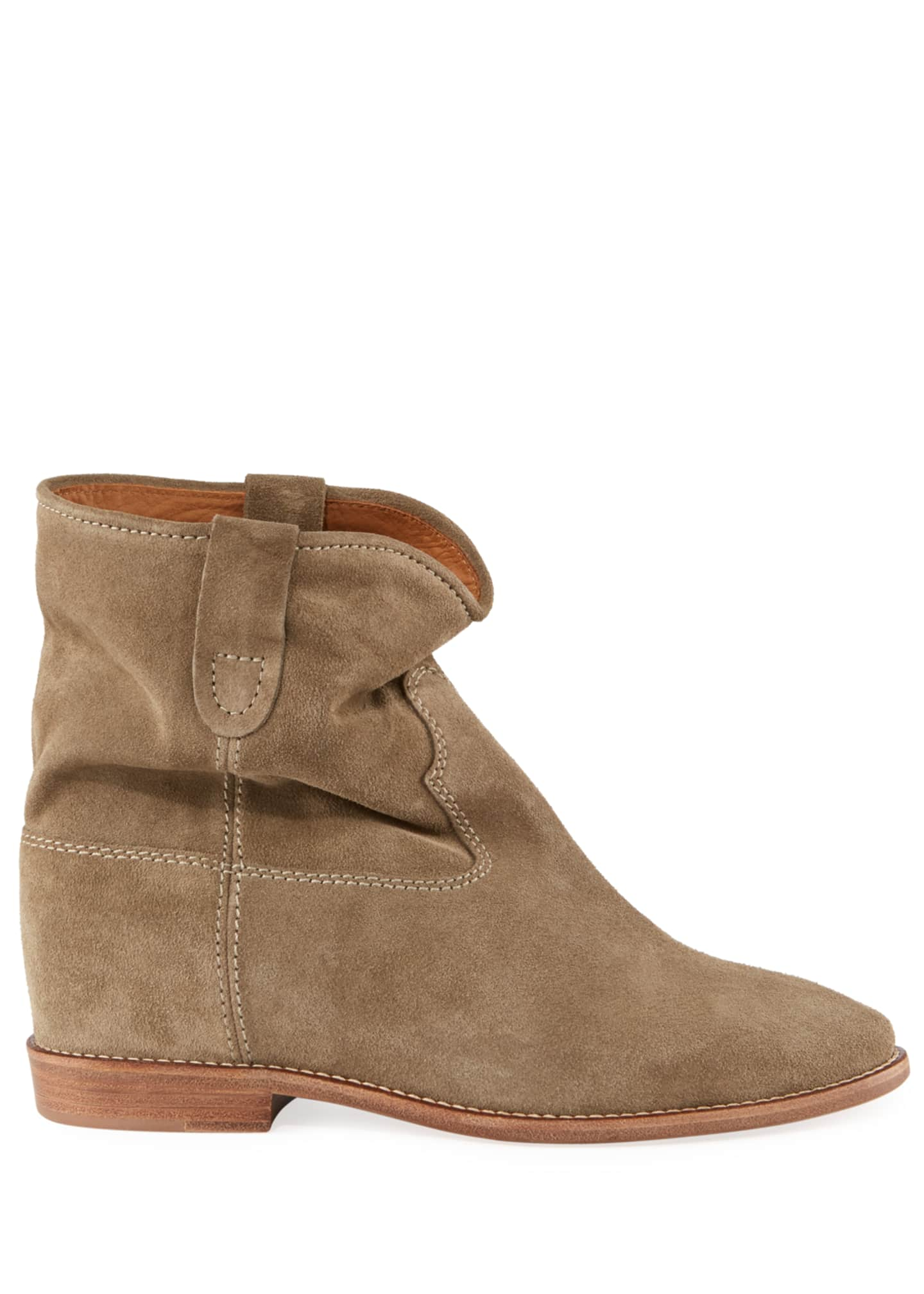 Image 2 of 5: Crisi Western Suede Flat Booties