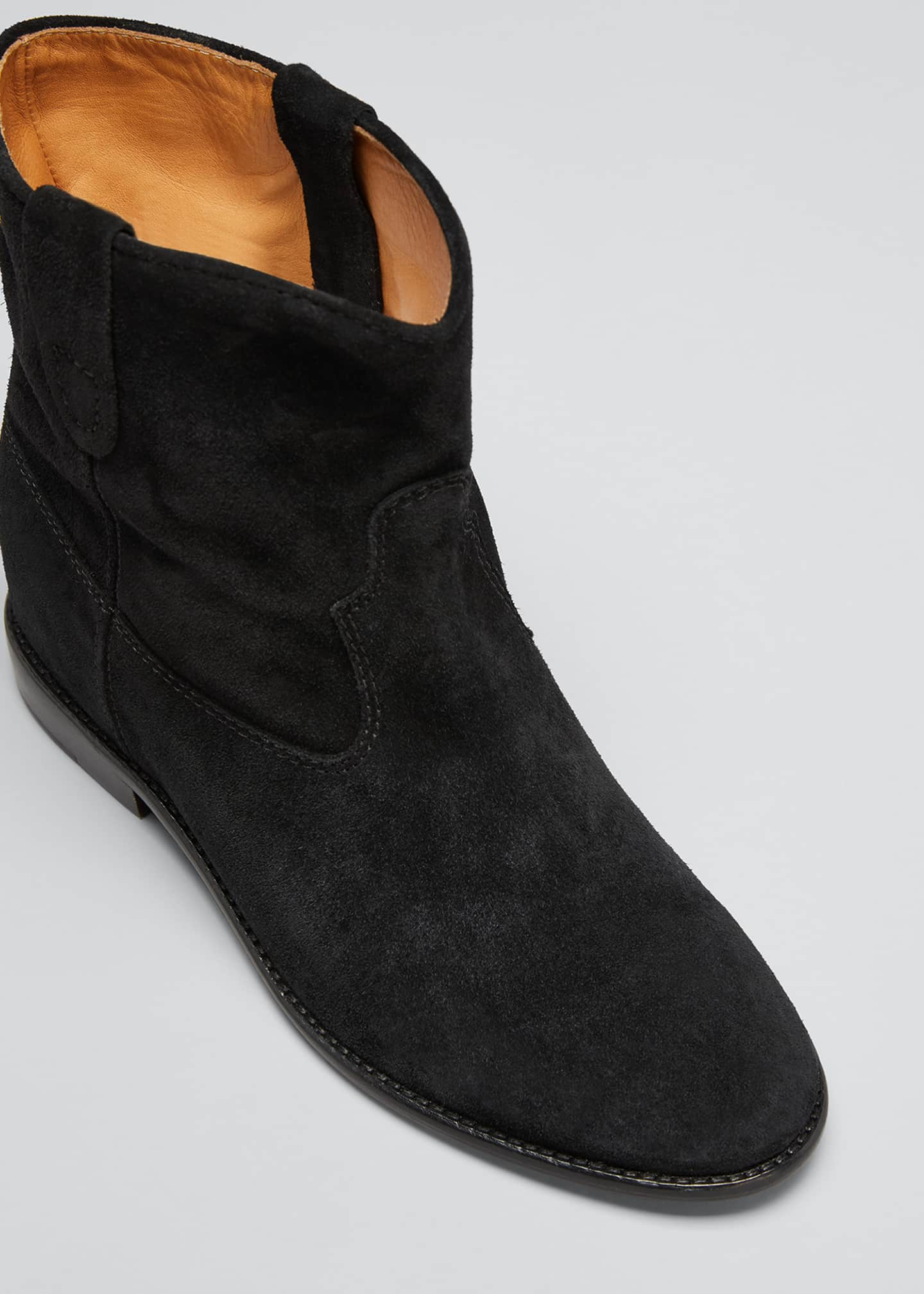 Image 5 of 5: Crisi Western Suede Flat Booties
