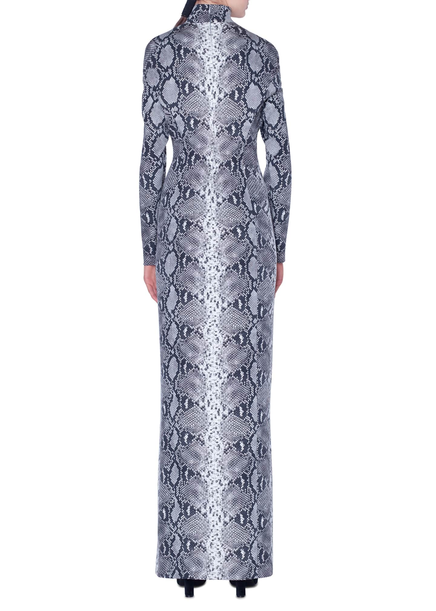 Image 2 of 3: Python-Print Silk Stretch Mock-Neck Gown