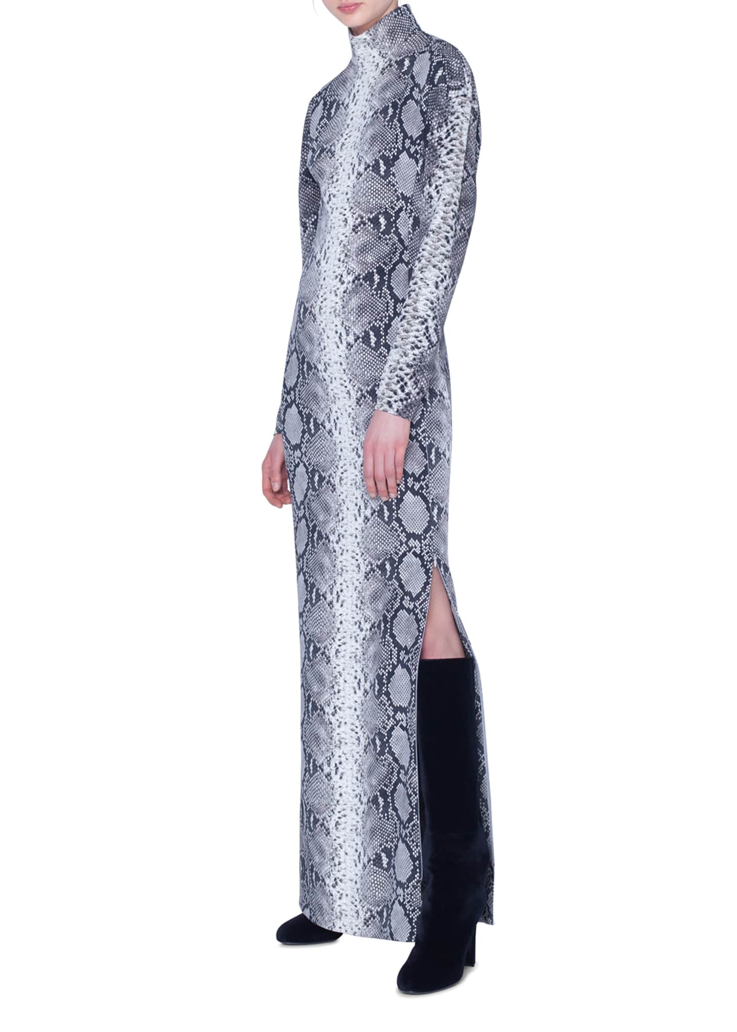 Image 3 of 3: Python-Print Silk Stretch Mock-Neck Gown