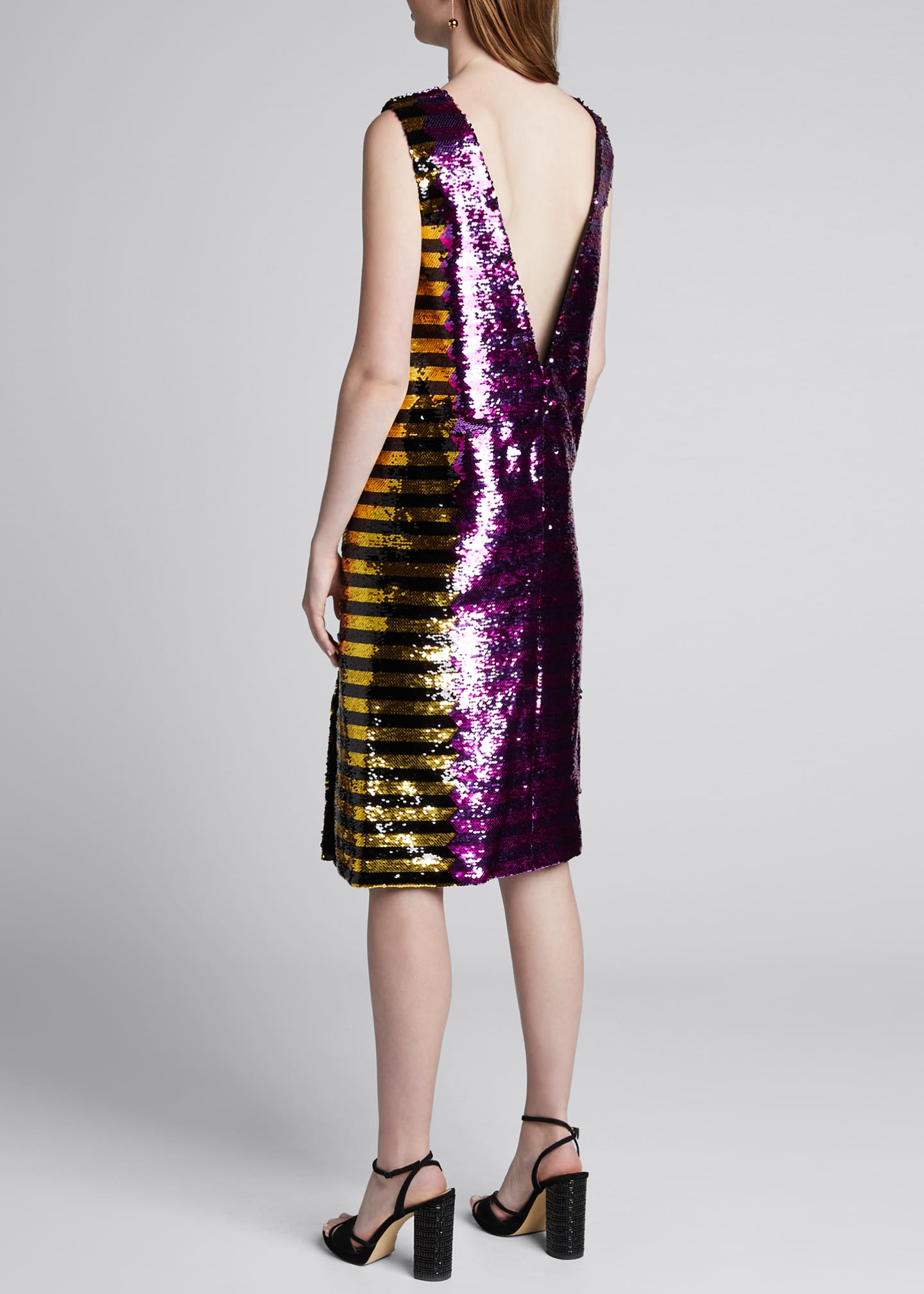 Image 2 of 4: Bicolor Sequin-Striped Dress