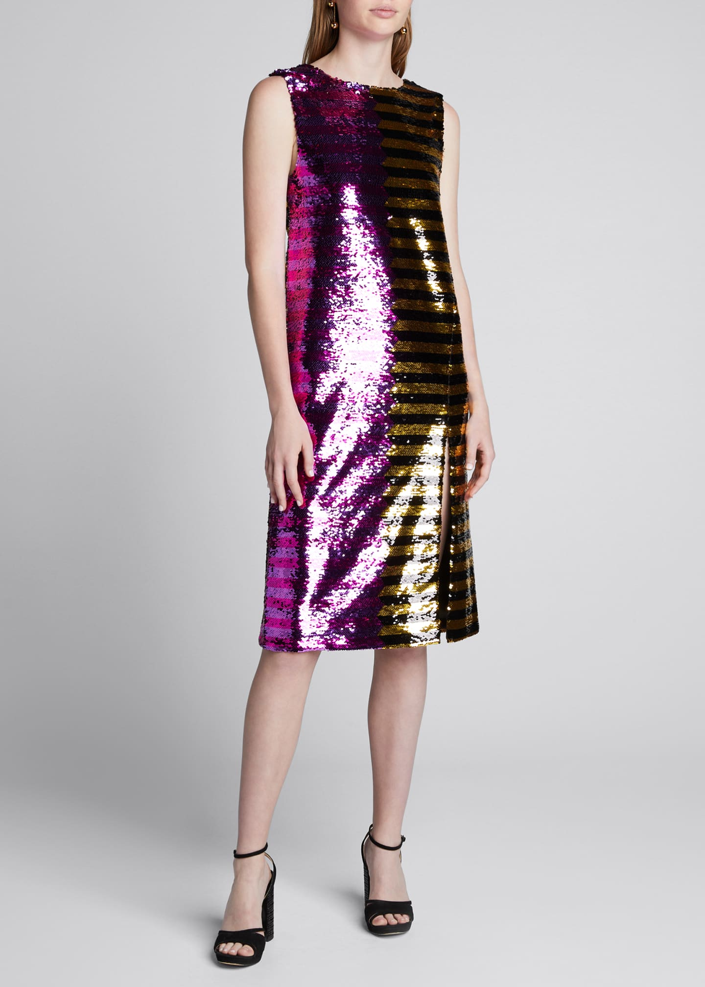 Image 3 of 4: Bicolor Sequin-Striped Dress