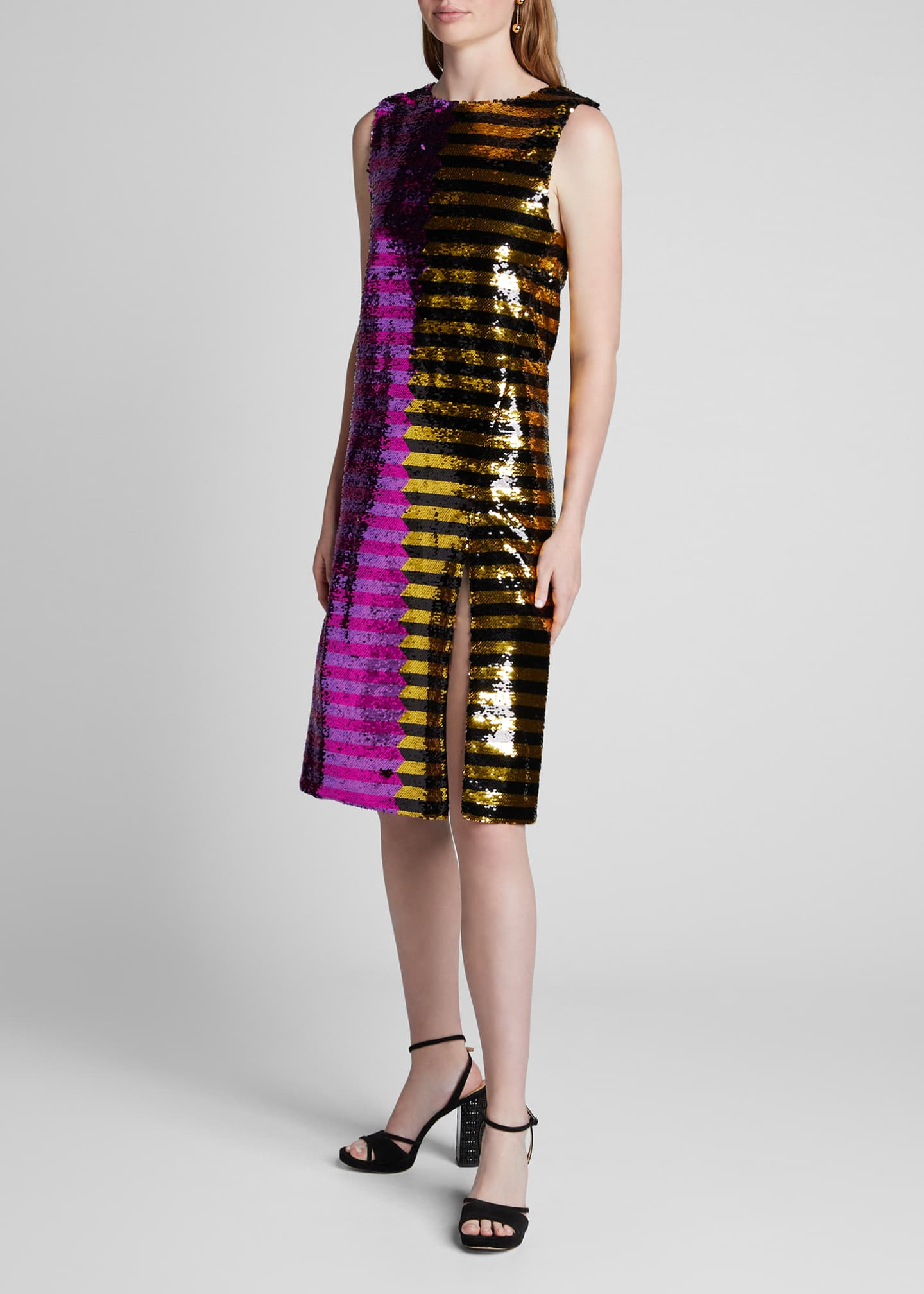 Image 1 of 4: Bicolor Sequin-Striped Dress