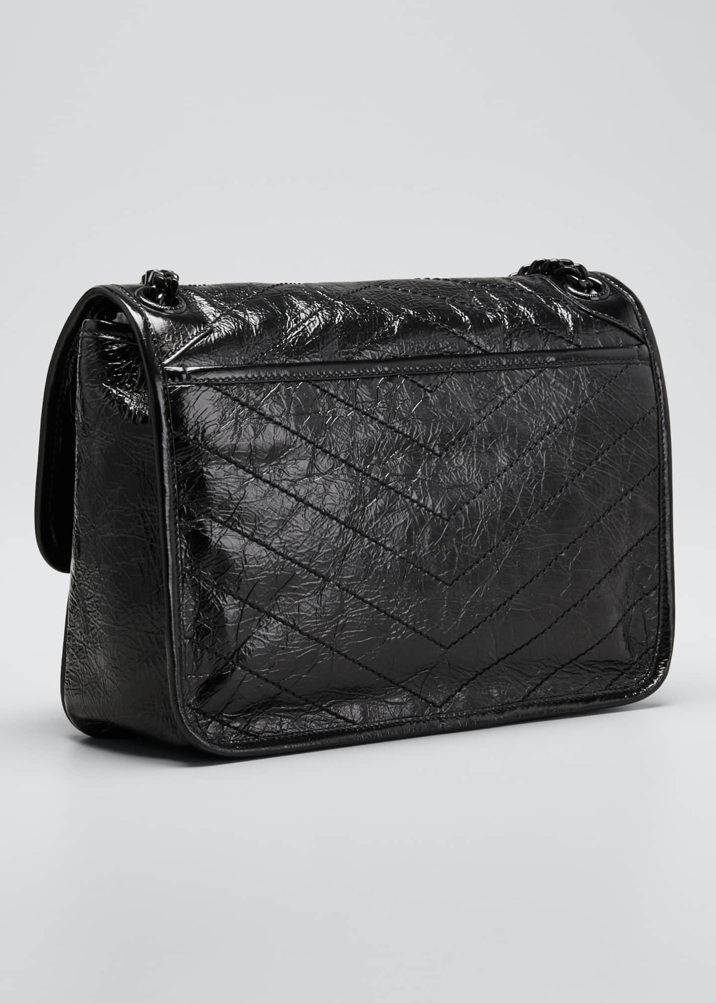 Image 3 of 5: Niki Medium Crinkled Calfskin Flap-Top Shoulder Bag, Black Hardware