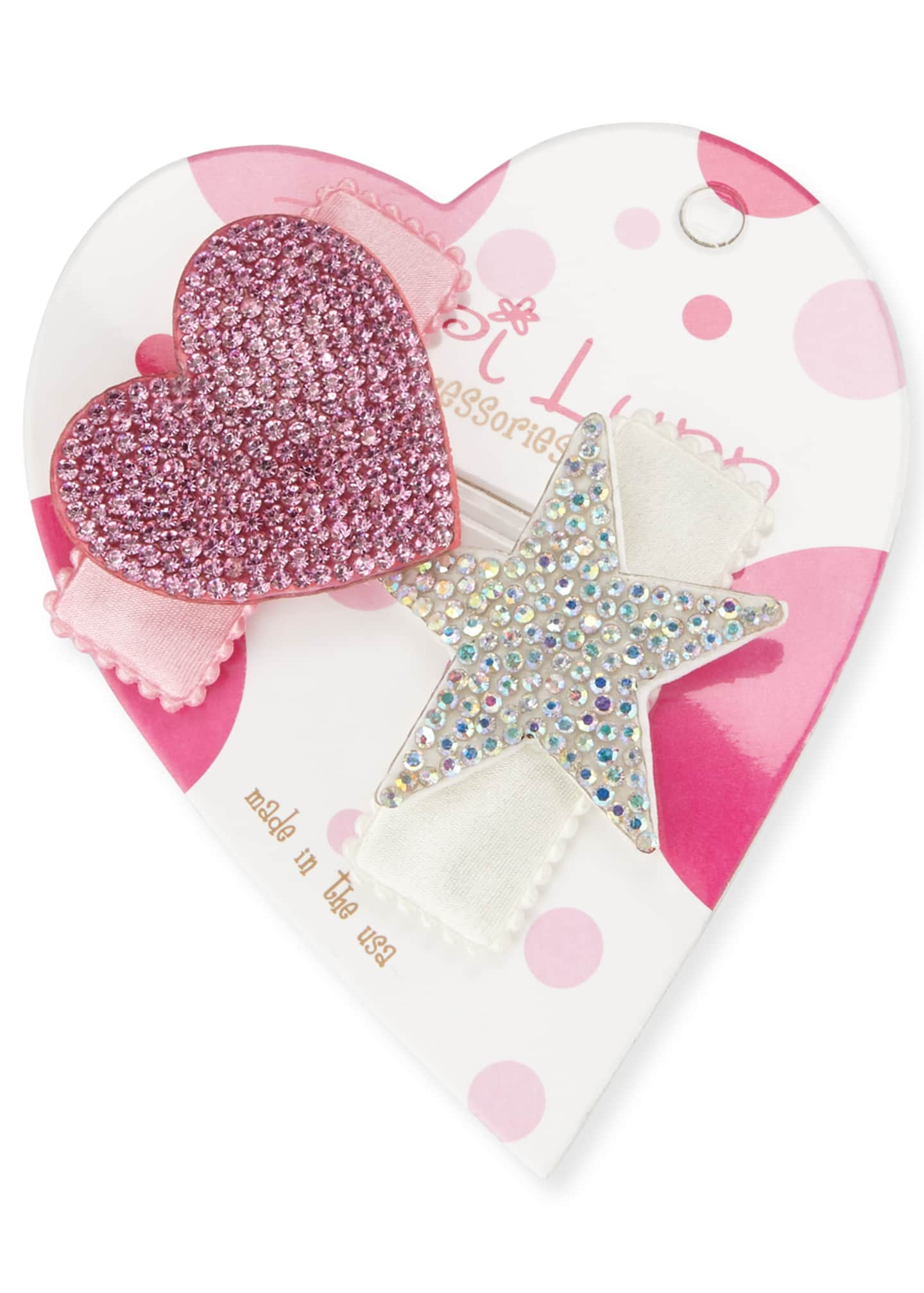 Bari Lynn Crystal & Heart Hair Clip Set