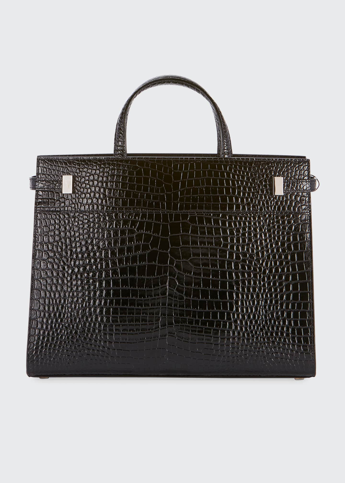 Image 2 of 2: Manhattan Small Crocodile-Embossed Tote Bag