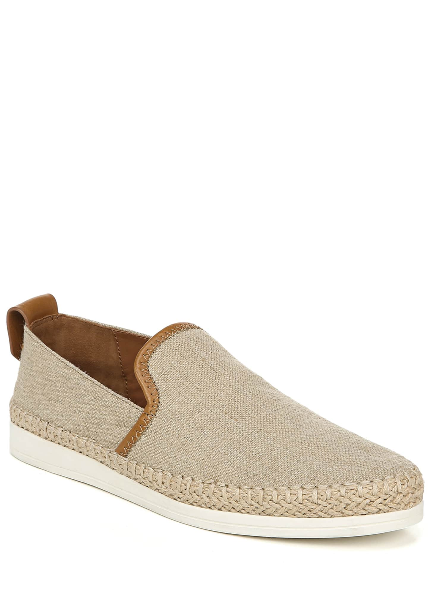 Vince Silas Linen & Leather Slip-On Sneakers