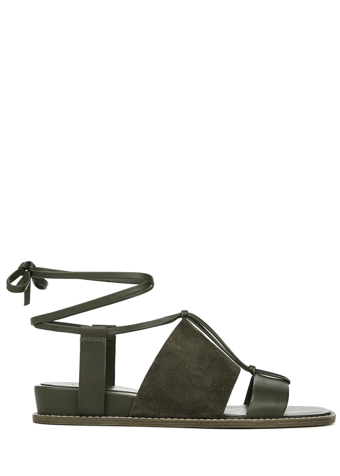 Image 2 of 4: Forster Flat Leather Ankle-Tie Sandals