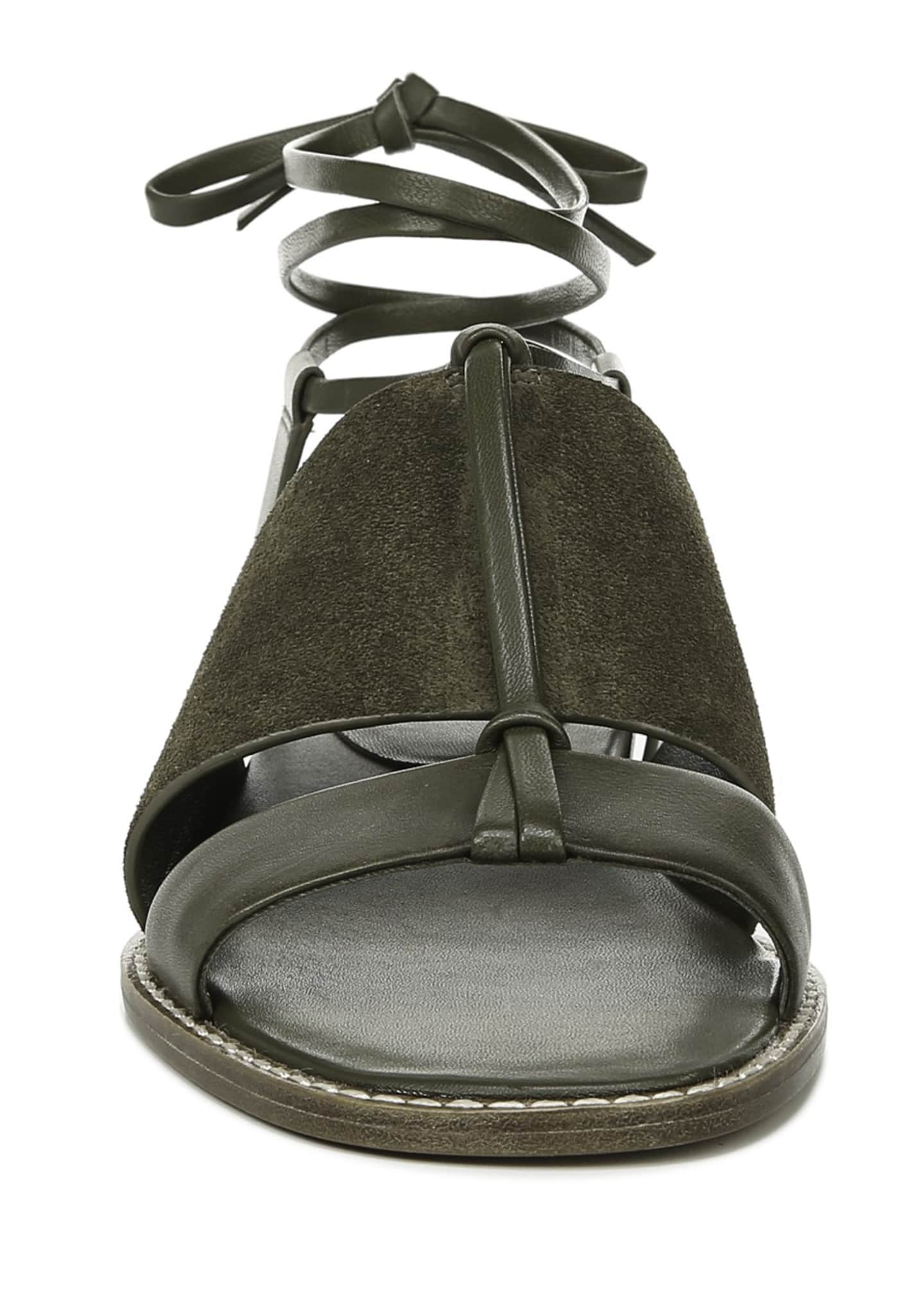 Image 3 of 4: Forster Flat Leather Ankle-Tie Sandals