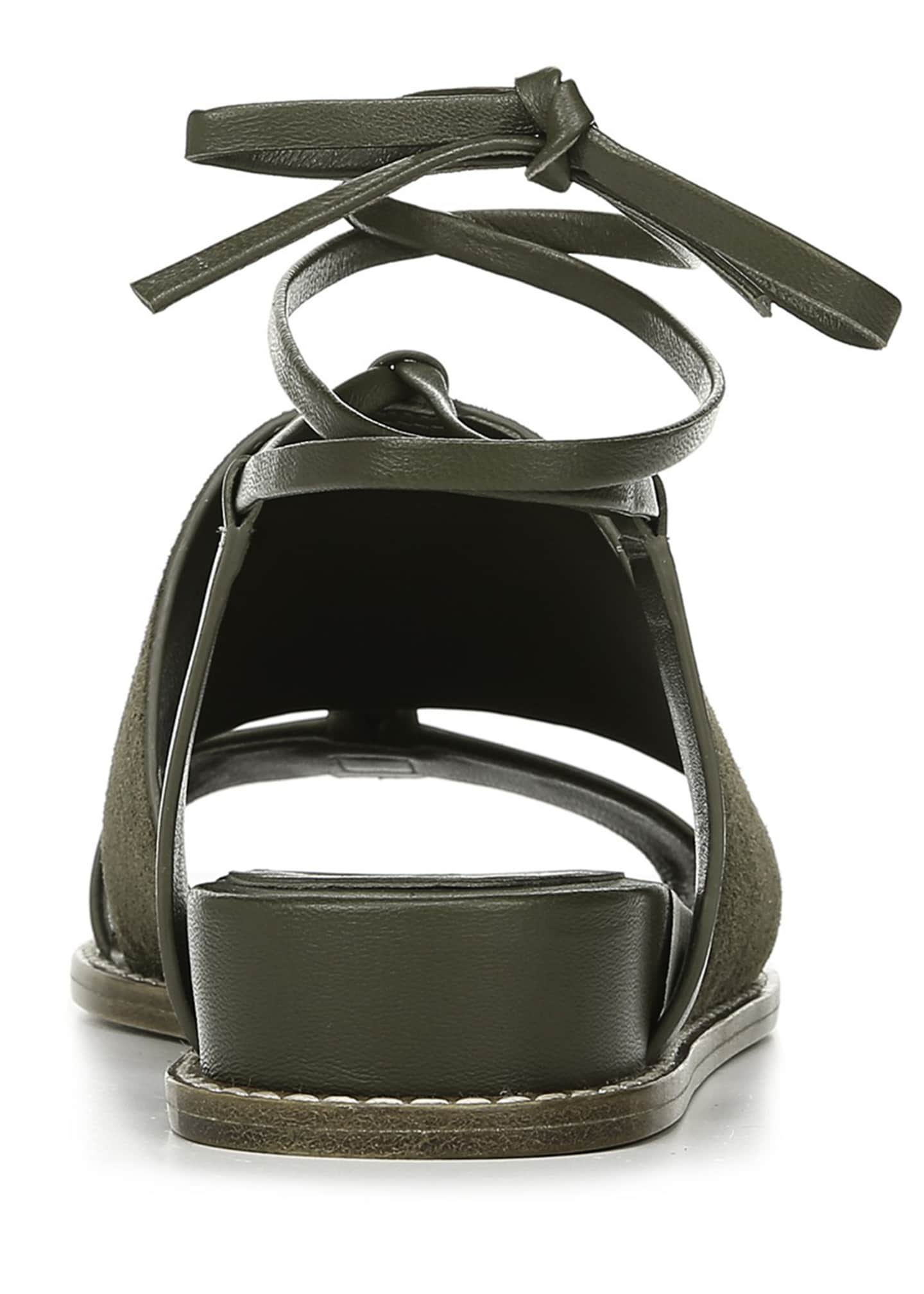 Image 4 of 4: Forster Flat Leather Ankle-Tie Sandals