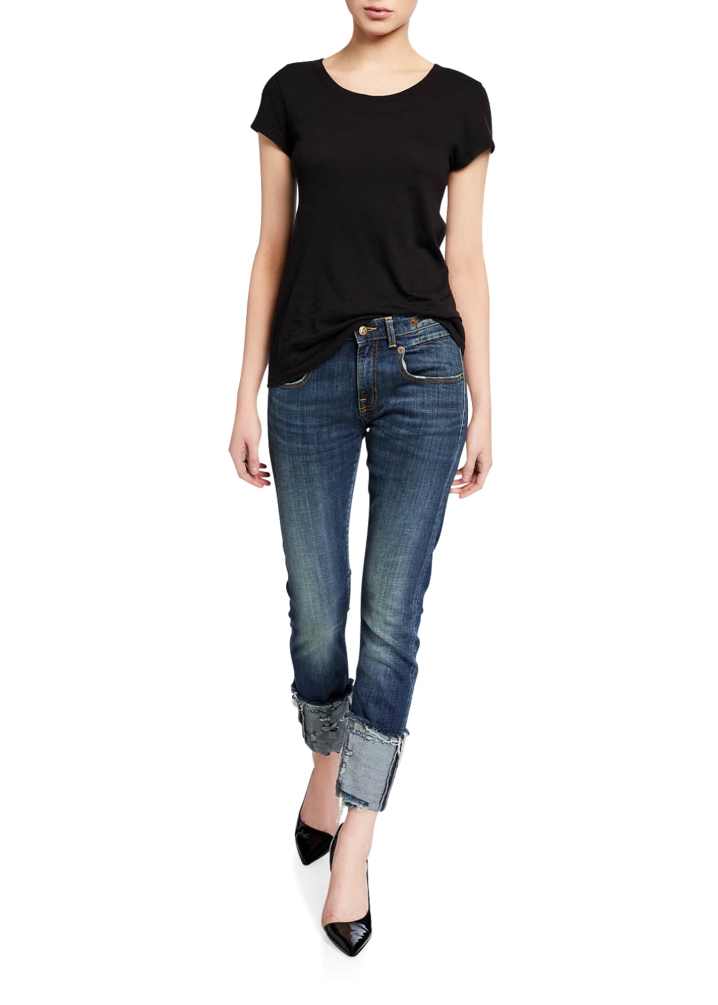 Image 3 of 3: Boy Distressed Skinny Jeans with Cuffs