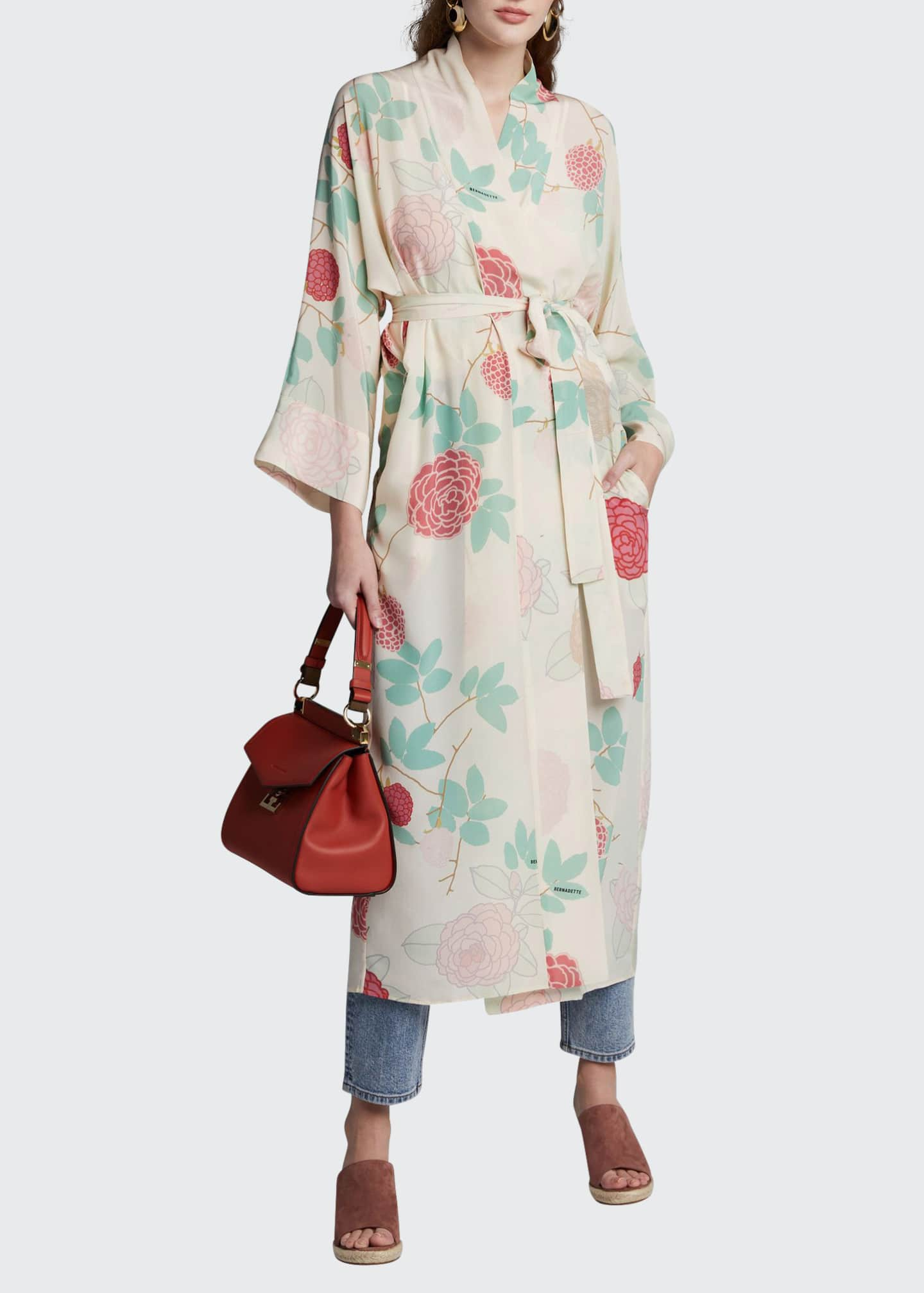 BERNADETTE Floral-Print Crepe de Chine Peignoir Dress