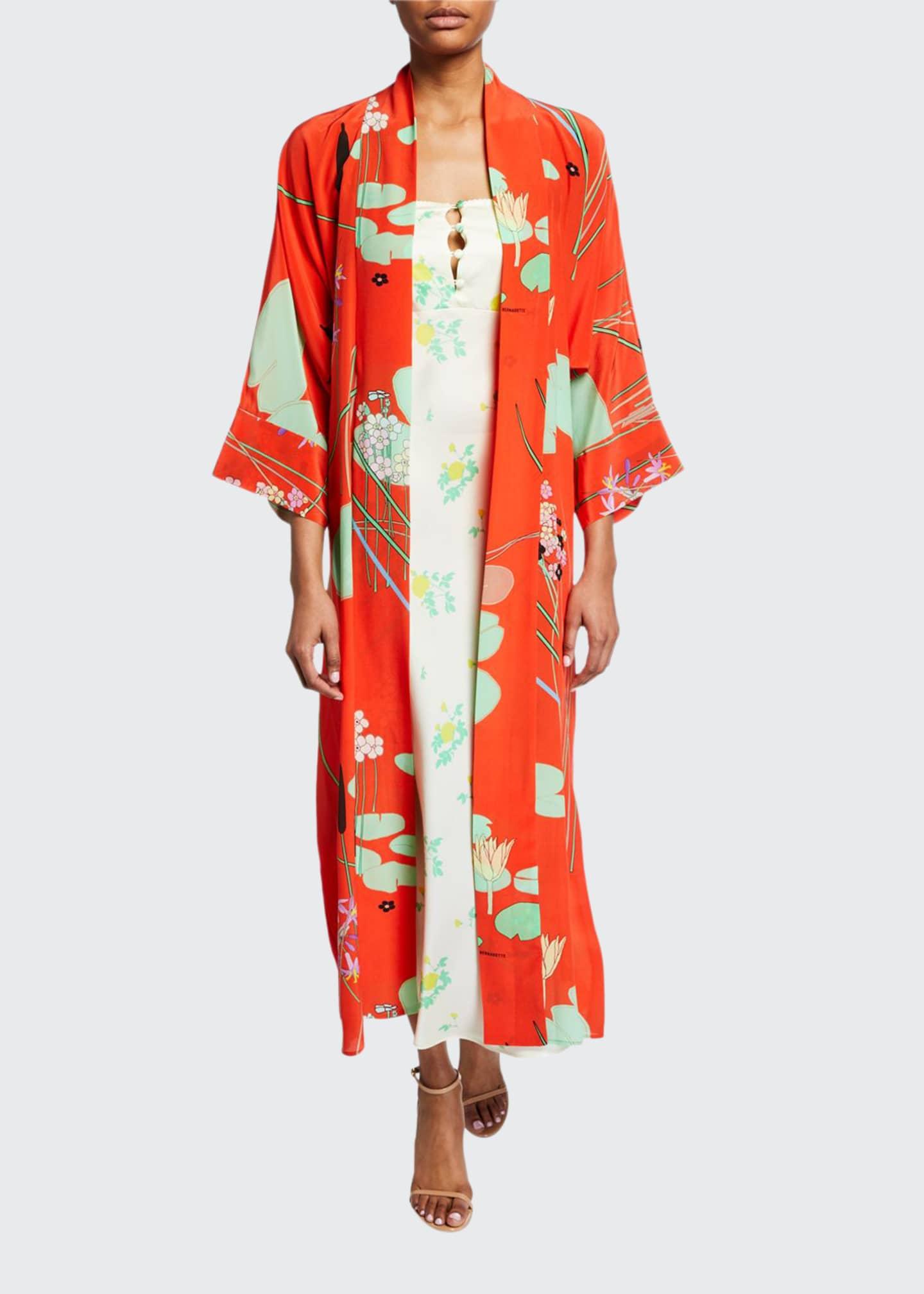 BERNADETTE Floral Print Silk Crepe de Chine Robe,