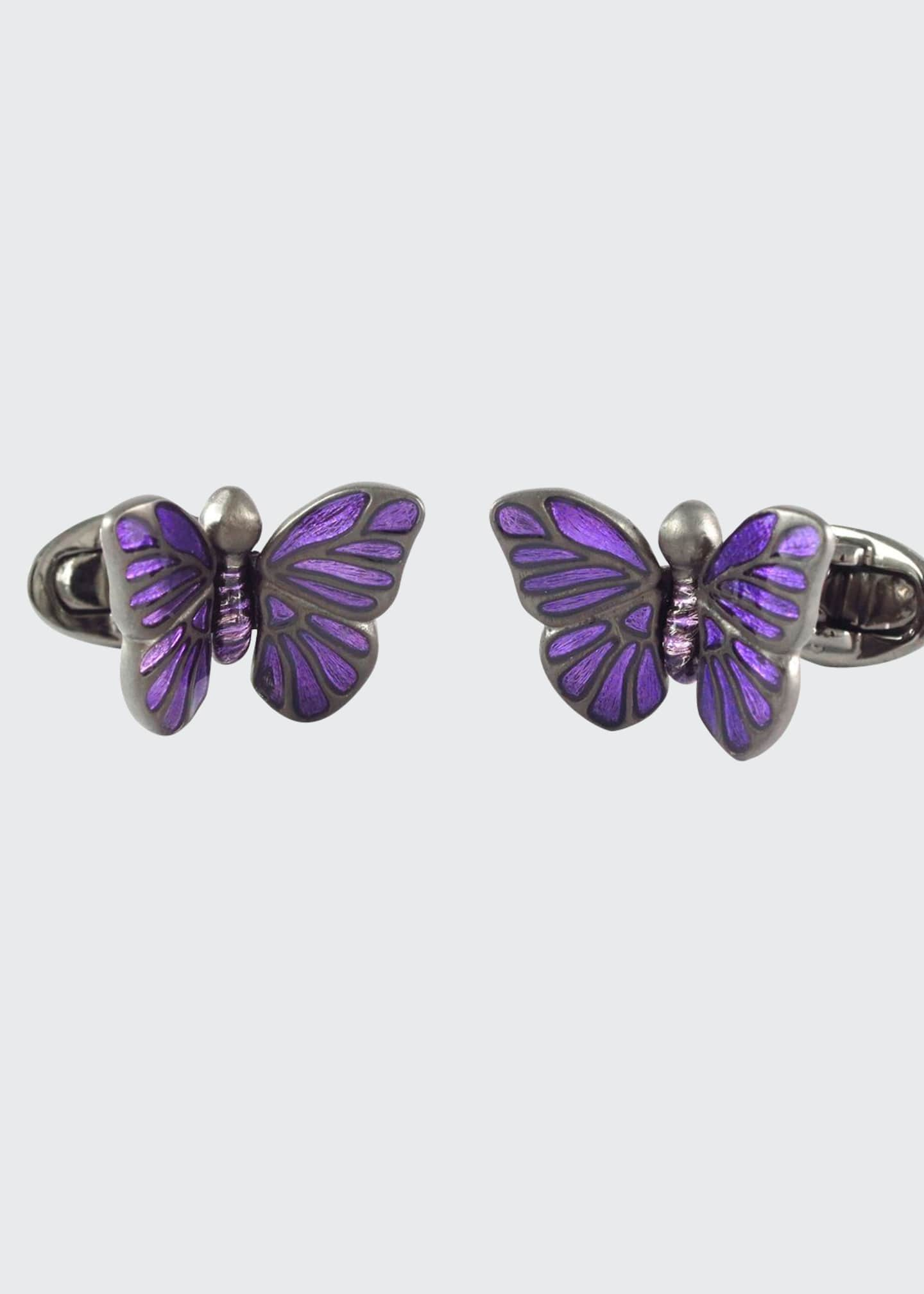 Image 1 of 1: Enamel Butterfly Cufflinks, Purple