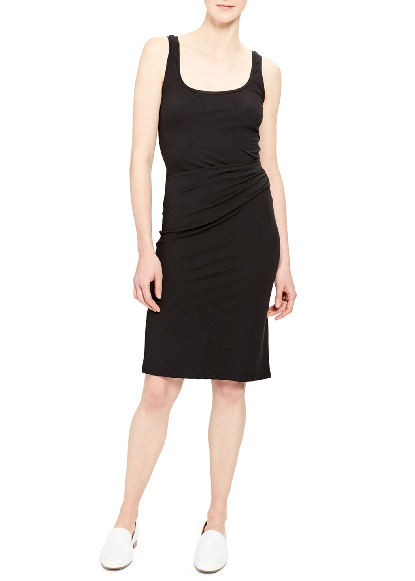 Image 1 of 2: Scoop-Neck Ruched Tank Dress