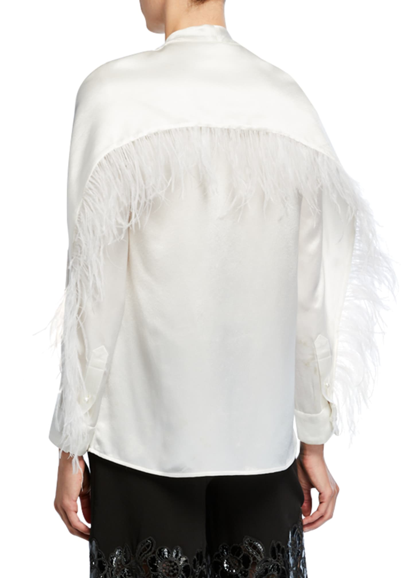 Image 2 of 2: Feather-Seamed Satin Button-Front Blouse