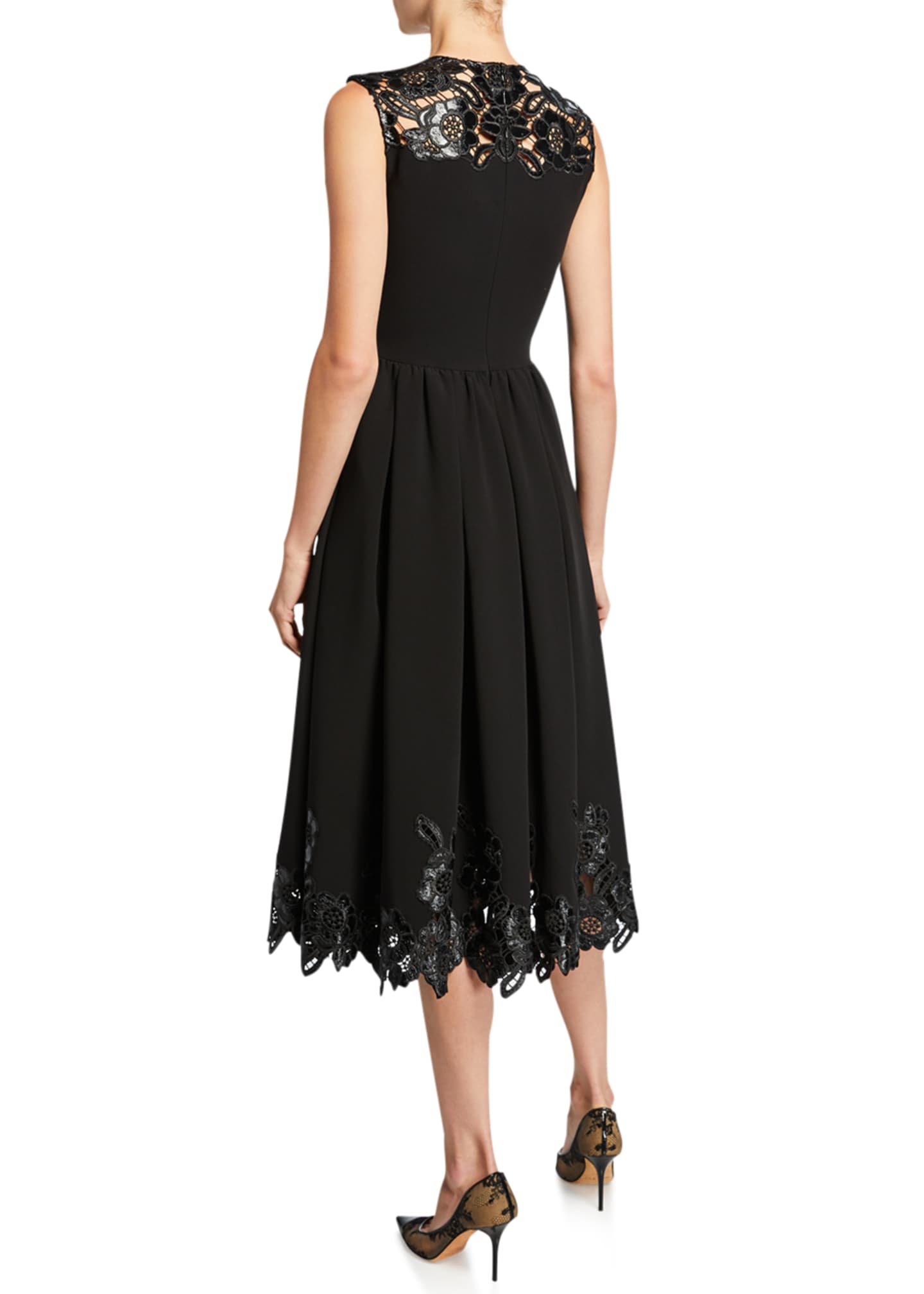 Image 2 of 2: Sleeveless Faux-Leather Lace Dress