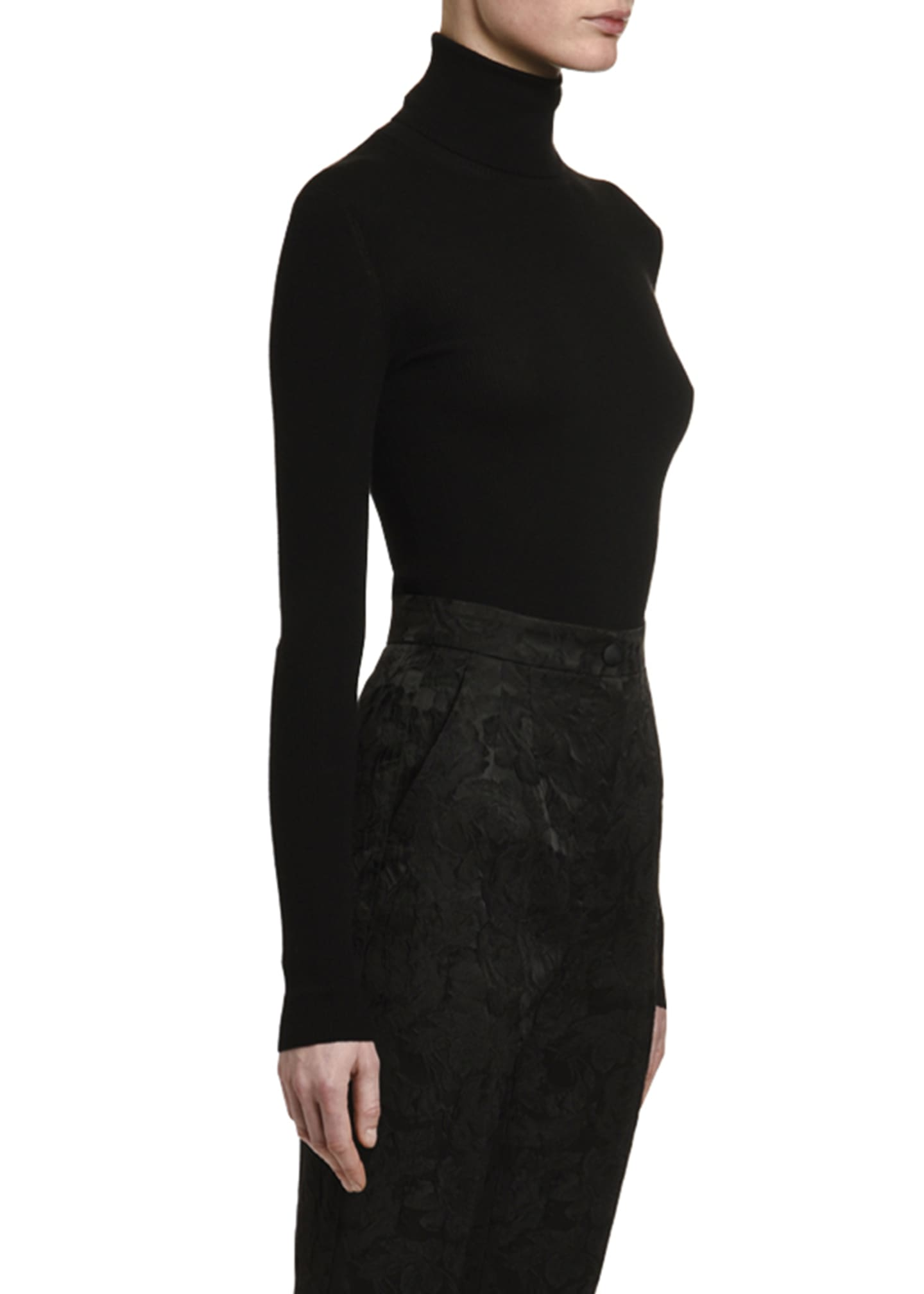 Image 3 of 3: Cashmere-Silk Thin-Ribbed Turtleneck Sweater