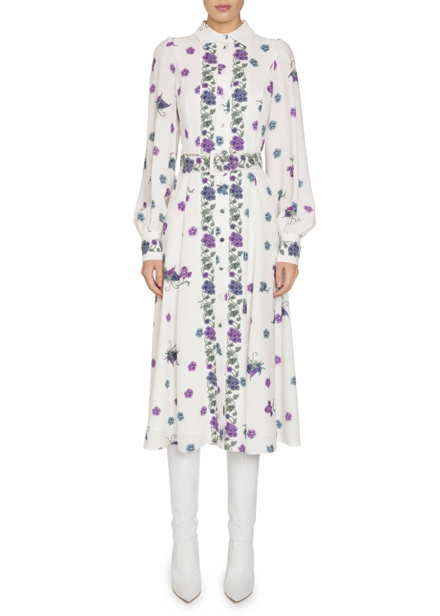 Andrew Gn High-Neck Printed Silk Shirtdress with Belt