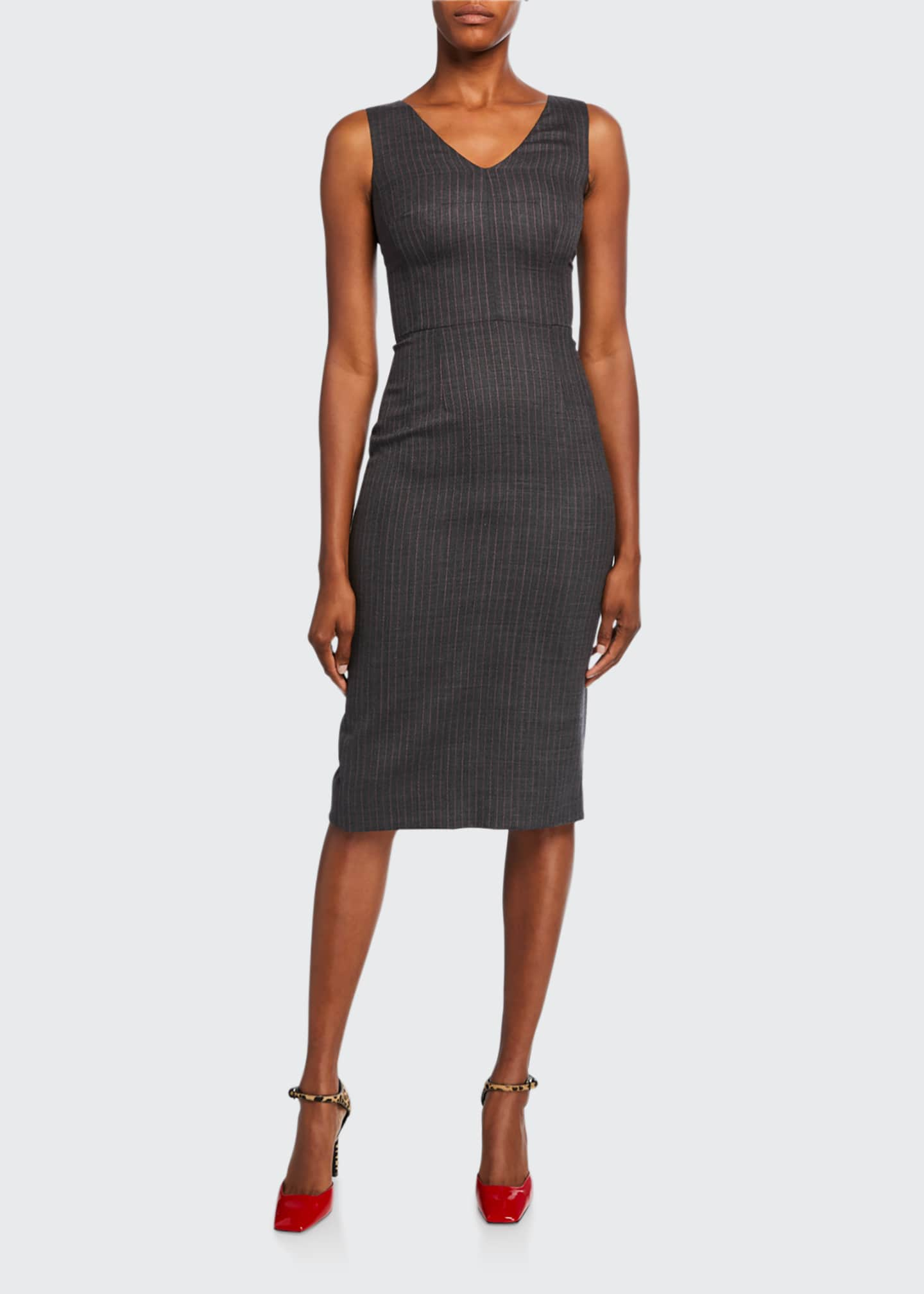 Image 1 of 2: Sleeveless Pinstripe Wool Dress