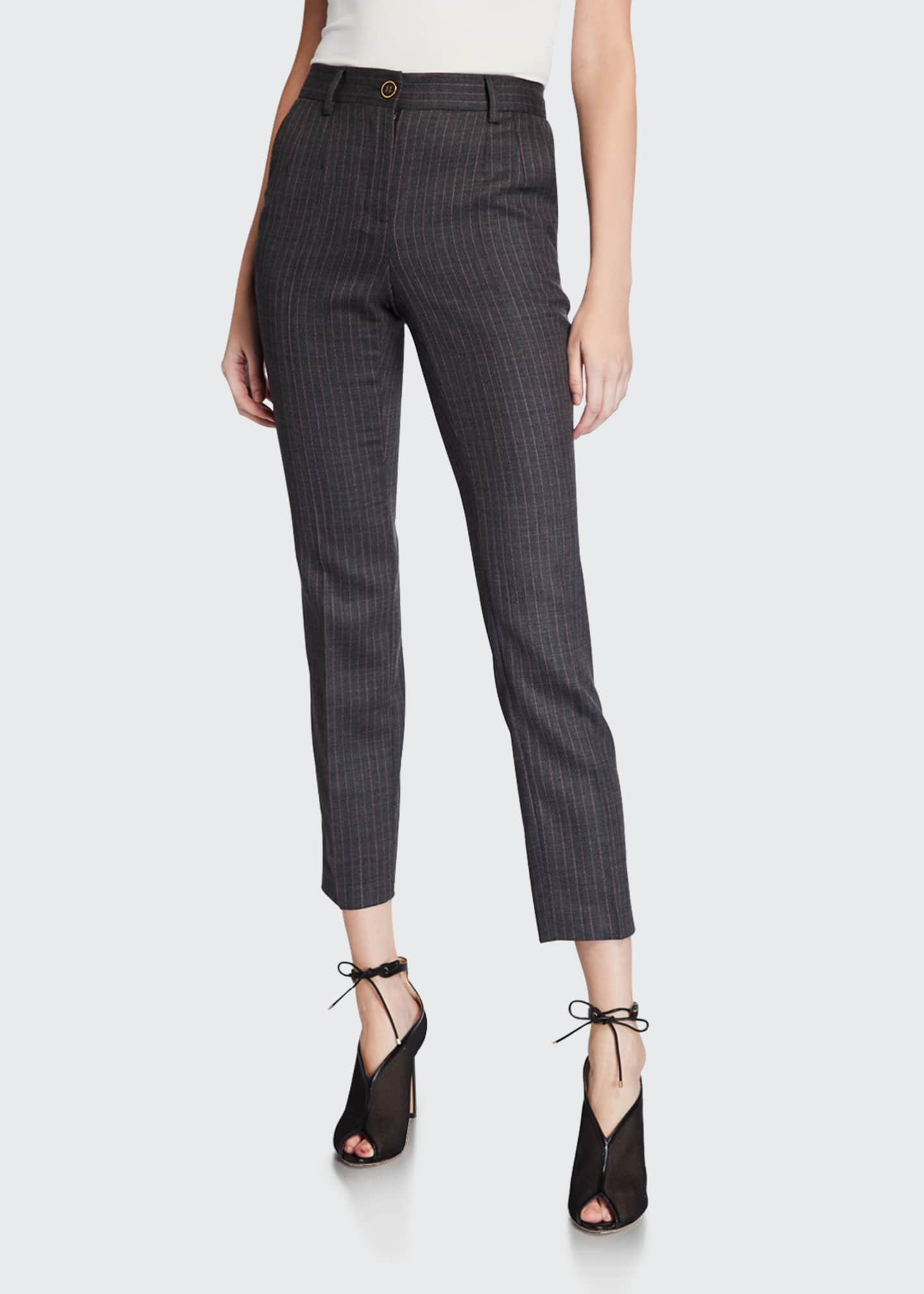 Image 3 of 3: Wool Pinstriped Slim-Leg Pants