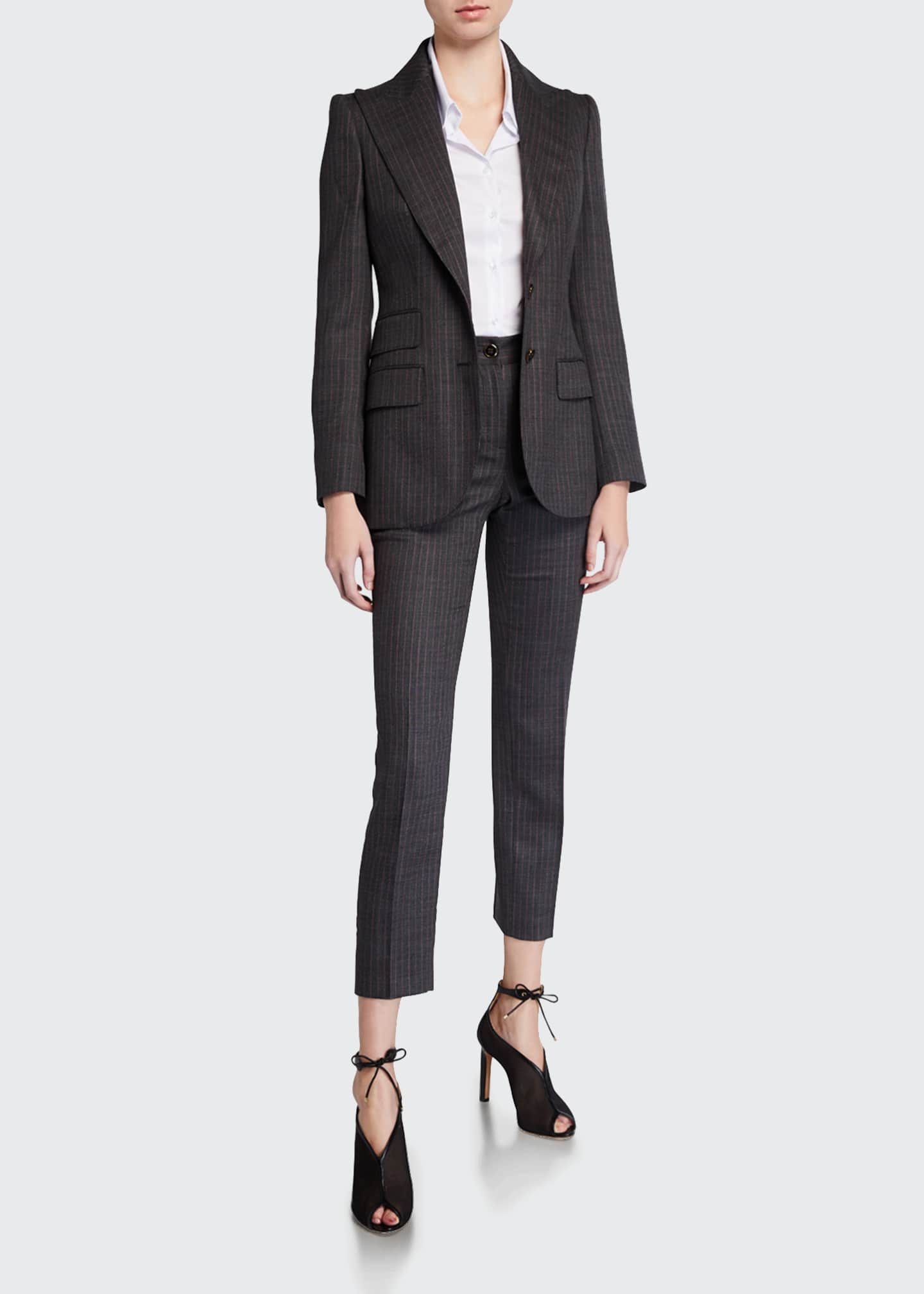 Image 1 of 3: Wool Pinstriped Slim-Leg Pants