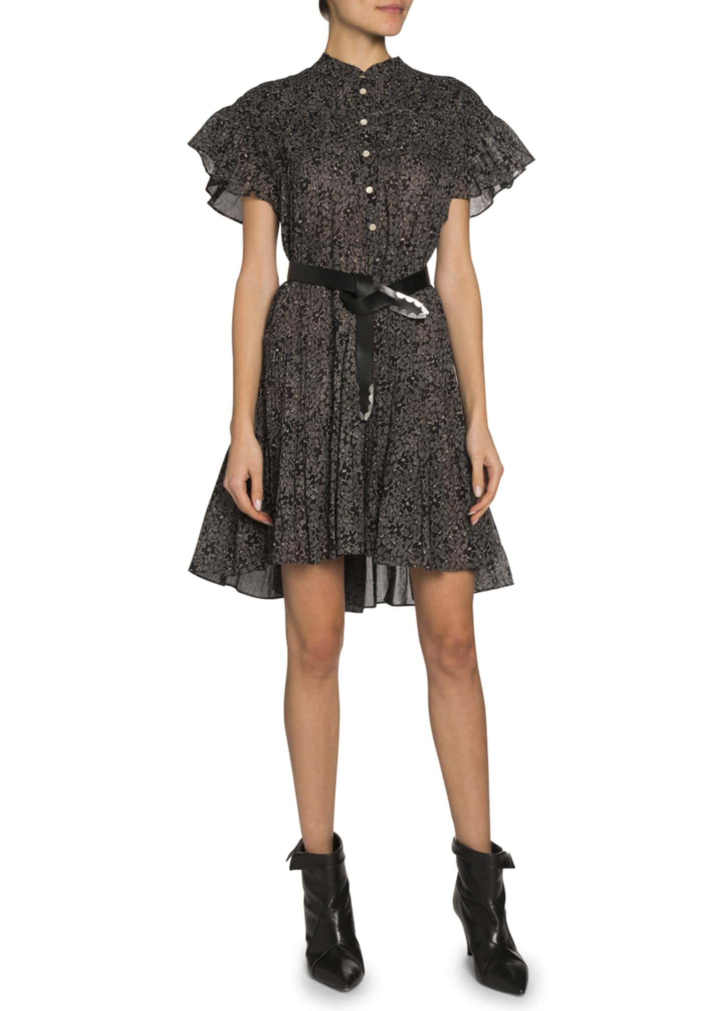 Etoile Isabel Marant Lanikaye Flutter-Sleeve Button-Front Dress