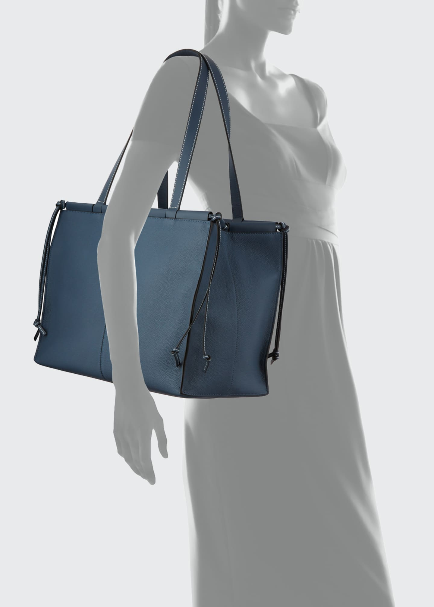 Image 4 of 4: Cushion Soft Grained Calf Leather Tote Bag