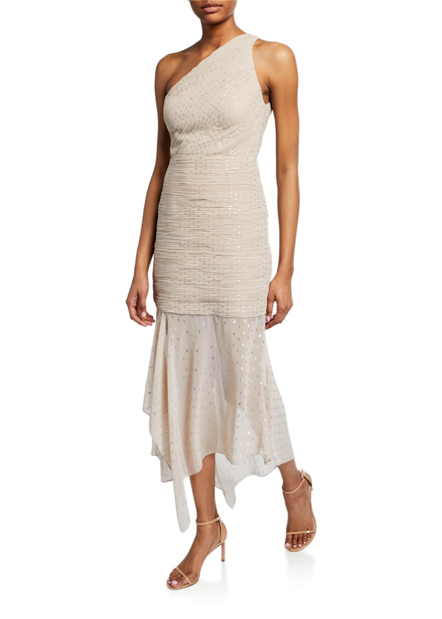 Halston One-Shoulder Pleated Metallic Dot Chiffon Dress