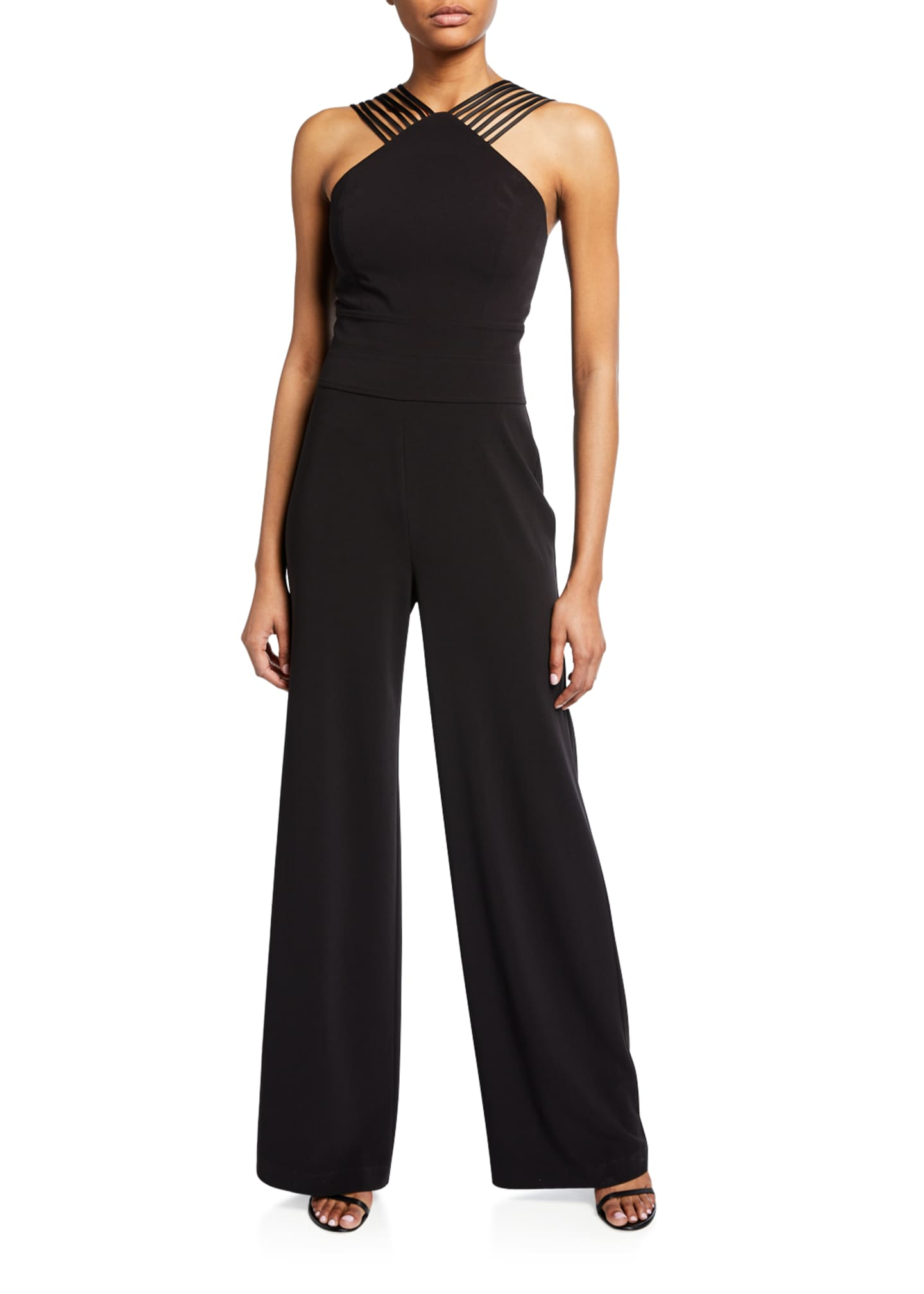 Halston Sleeveless Multi Stripe Wide-Leg Jumpsuit