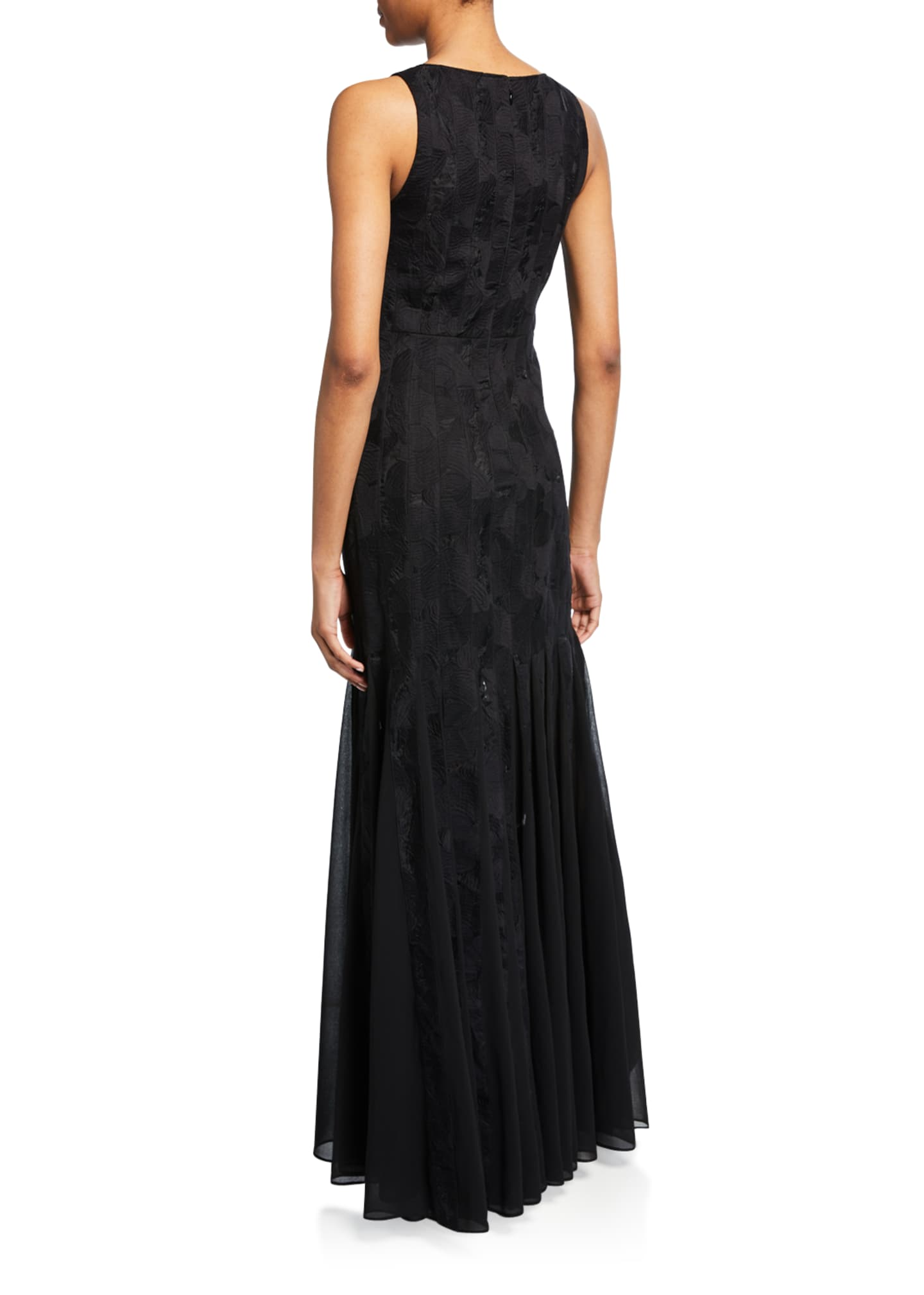 Image 2 of 2: Sleeveless Boatneck Crepe Strip Gown