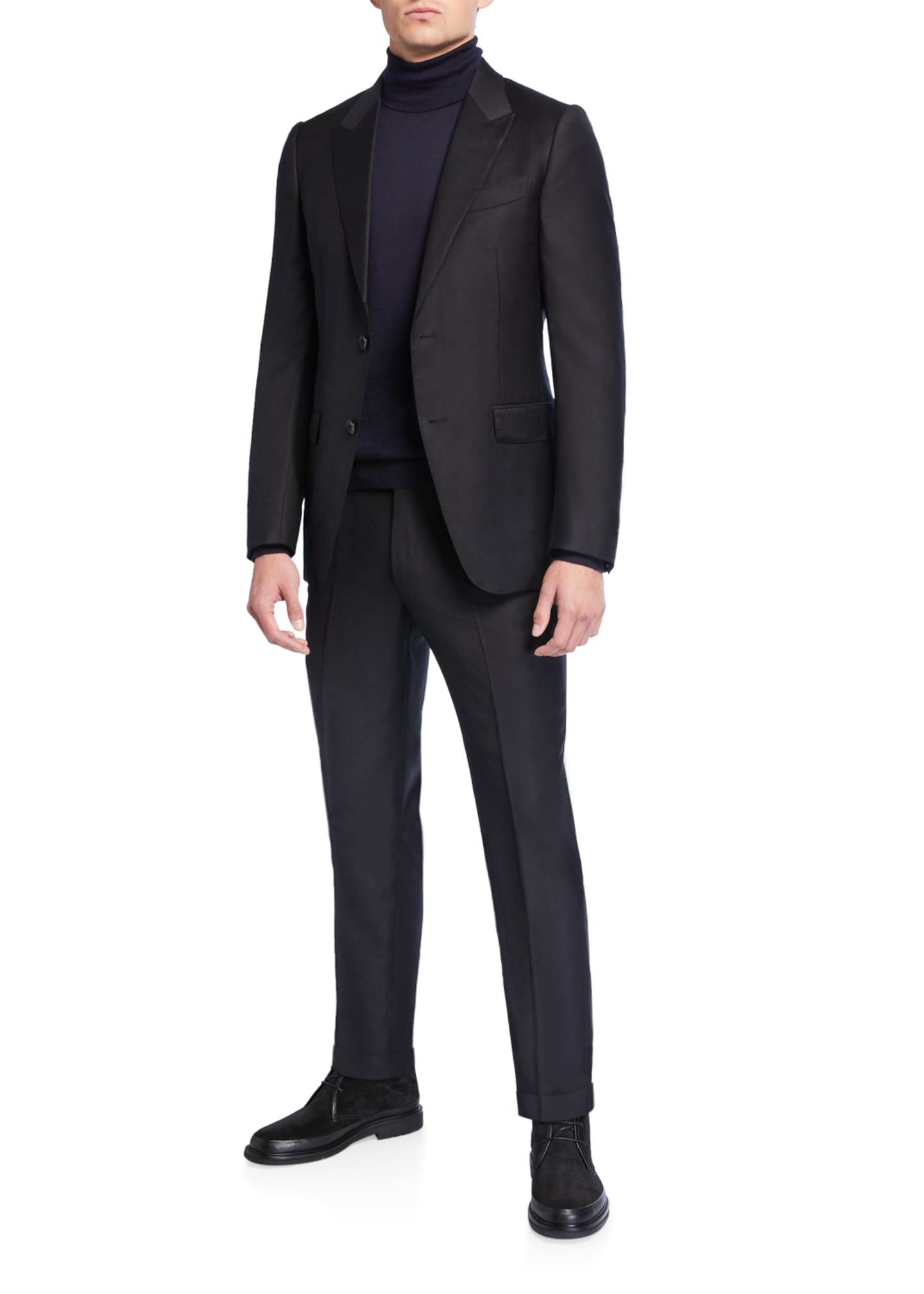 Image 2 of 4: Men's Textured Two-Piece Trim-Fit Wool Silk