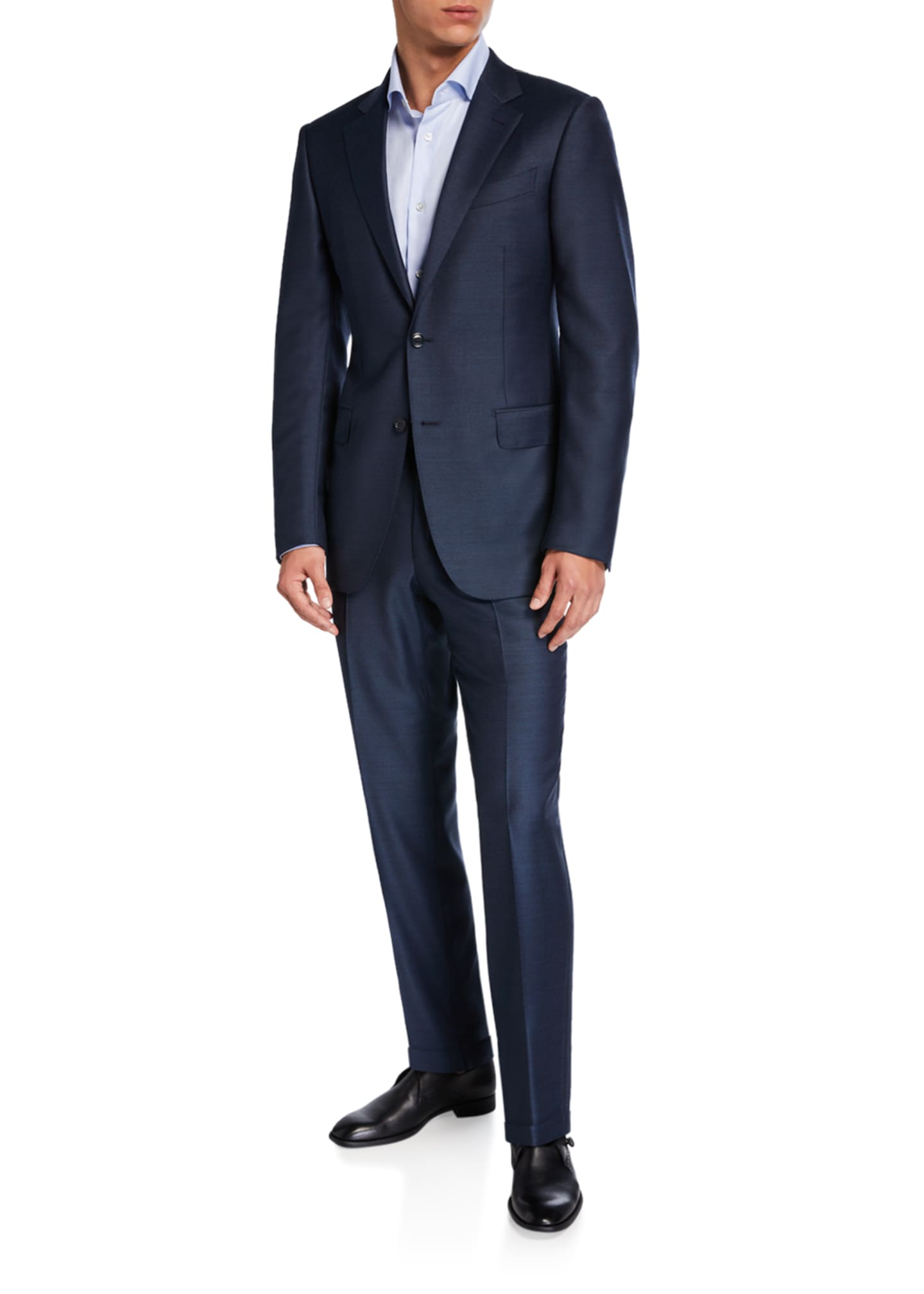 Image 2 of 4: Men's Solid Wool-Silk Two-Piece Regular-Fit Suit