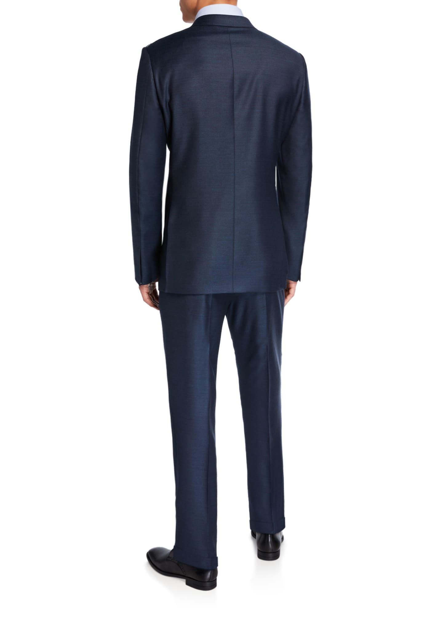 Image 3 of 4: Men's Solid Wool-Silk Two-Piece Regular-Fit Suit