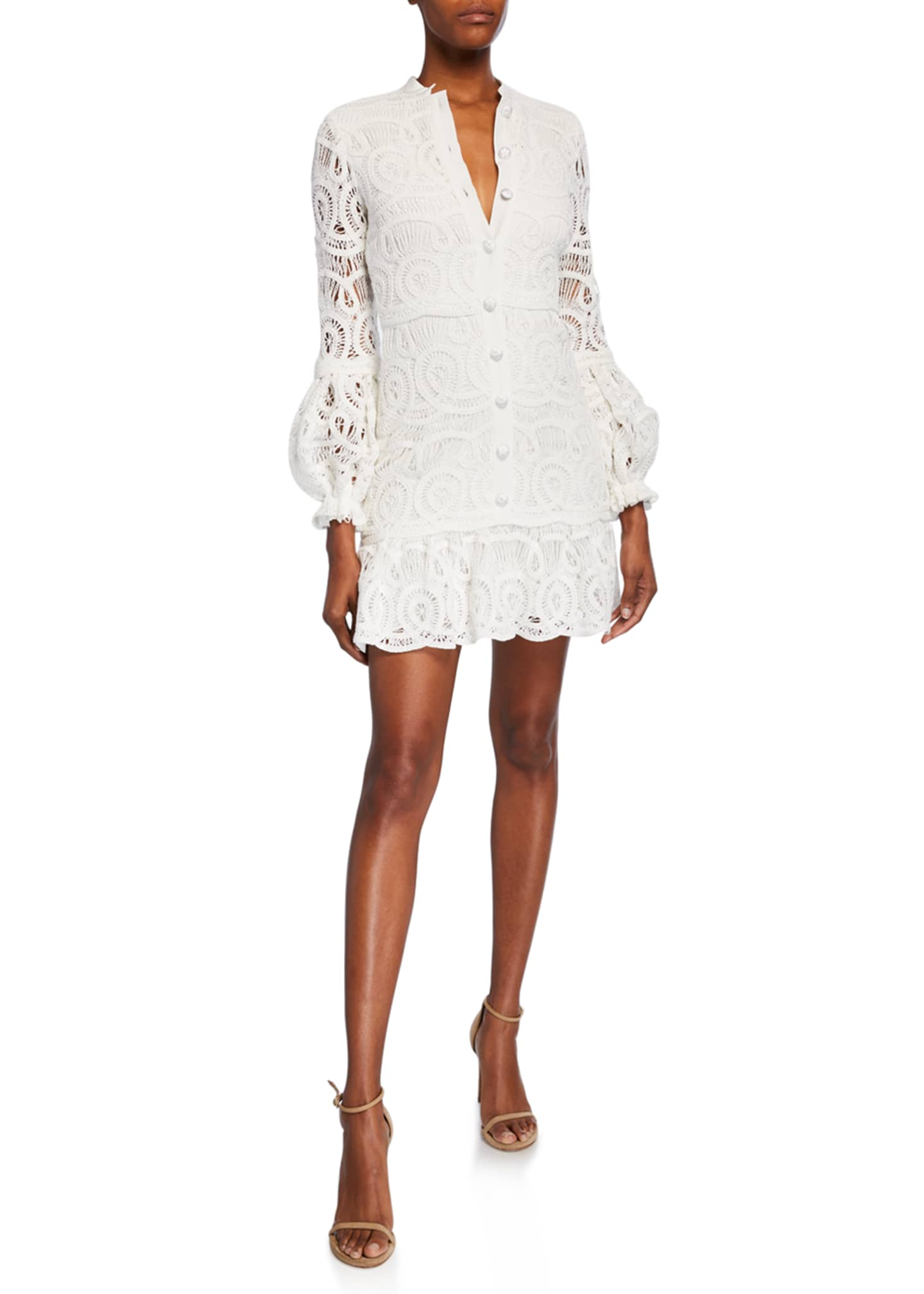 Alexis Liliyan Balloon-Sleeve Mini Crochet Dress