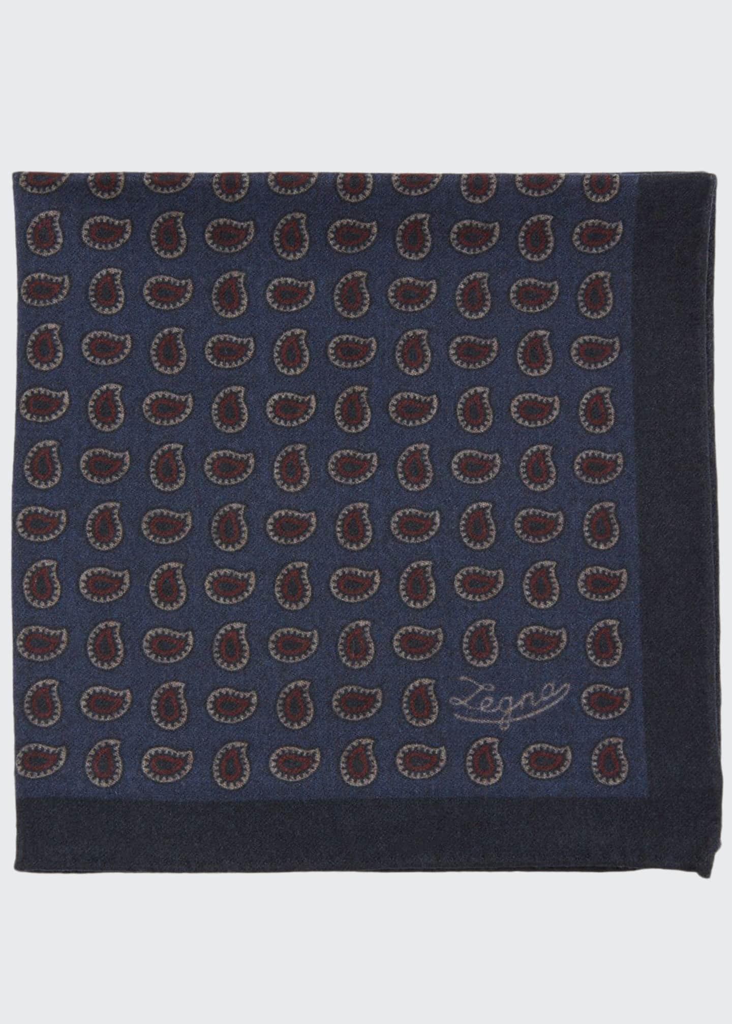 Ermenegildo Zegna Men's Blue Pines Reversible Wool Pocket