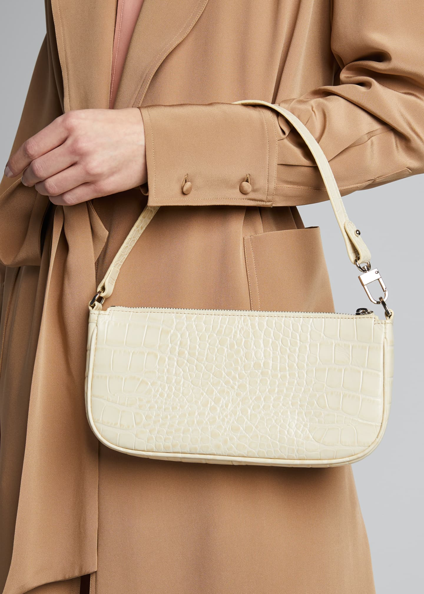 Image 2 of 5: Rachel Small Croc-Embossed Shoulder Bag