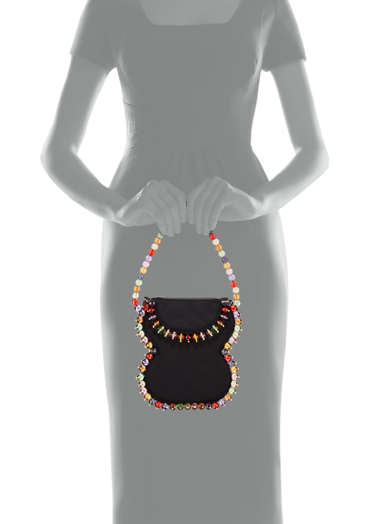 Image 3 of 3: Frida Beaded Grosgrain Top-Handle Bag