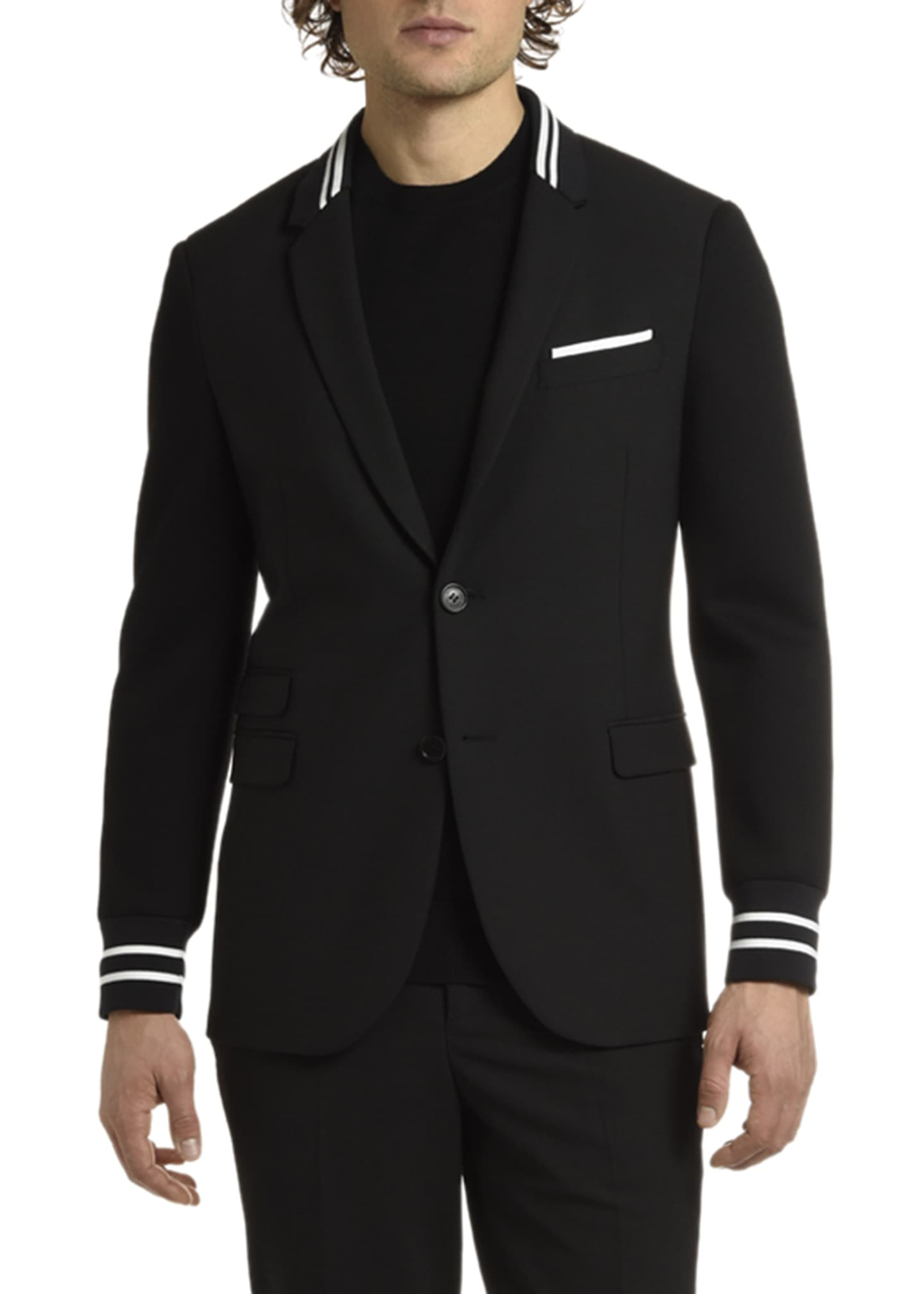 Neil Barrett Men's Knit-Trim Two-Button Jacket