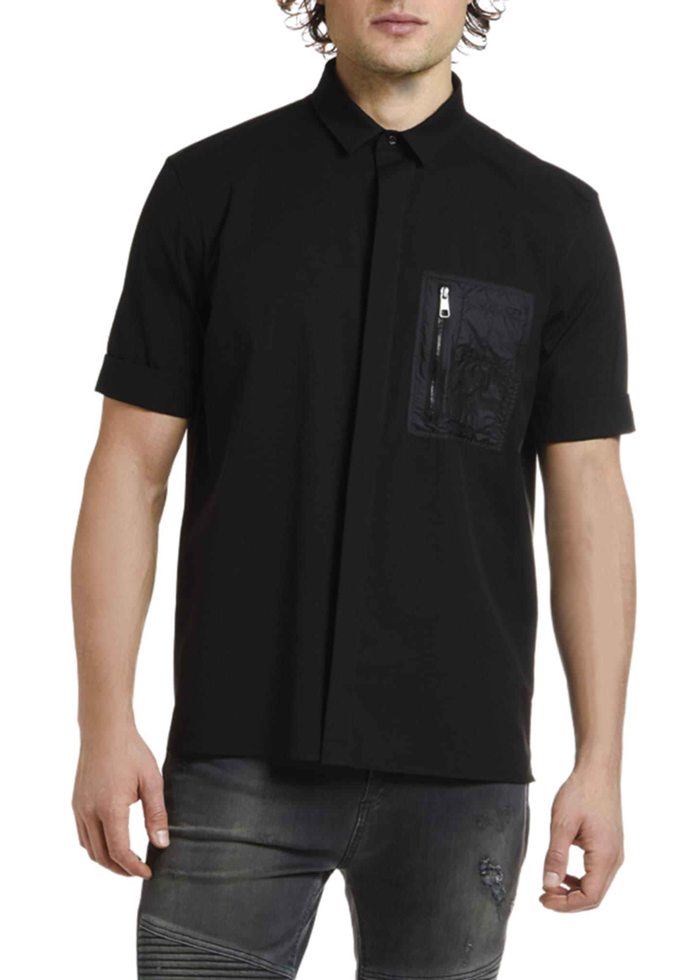 Neil Barrett Men's Nylon-Pocket Short-Sleeve Sport Shirt