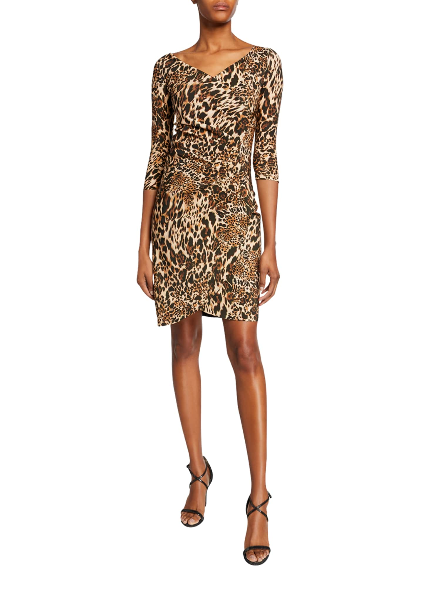 Chiara Boni La Petite Robe Emerentienne Leopard-Print 3/4-Sleeve