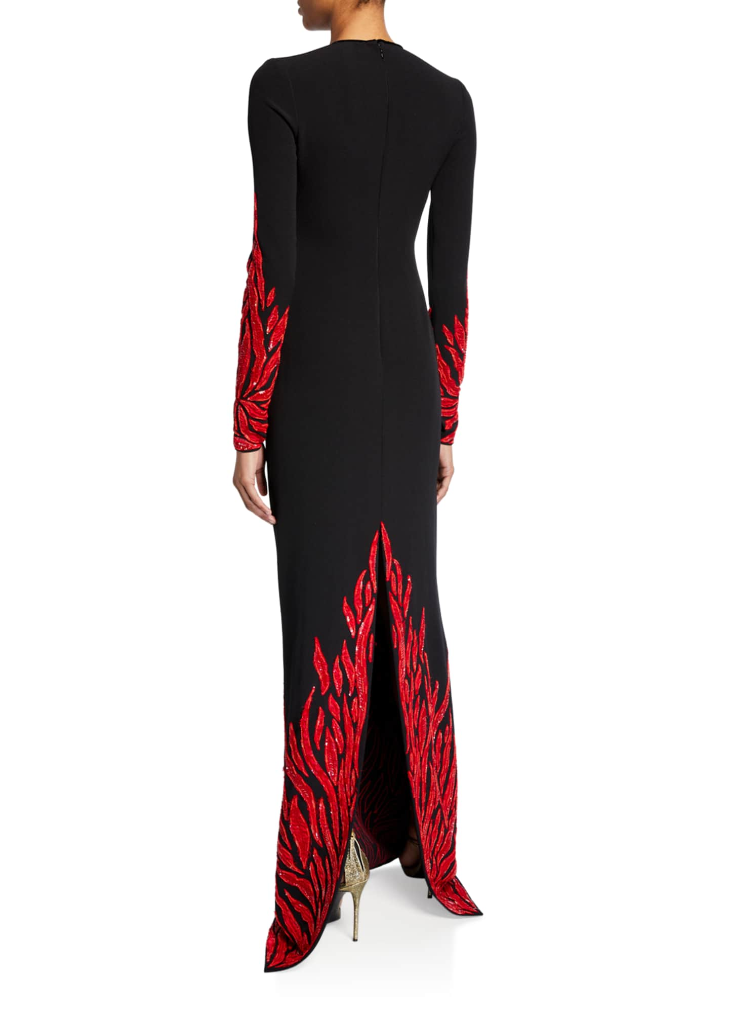 Image 2 of 2: Fire-Embellished Long-Sleeve Keyhole Gown